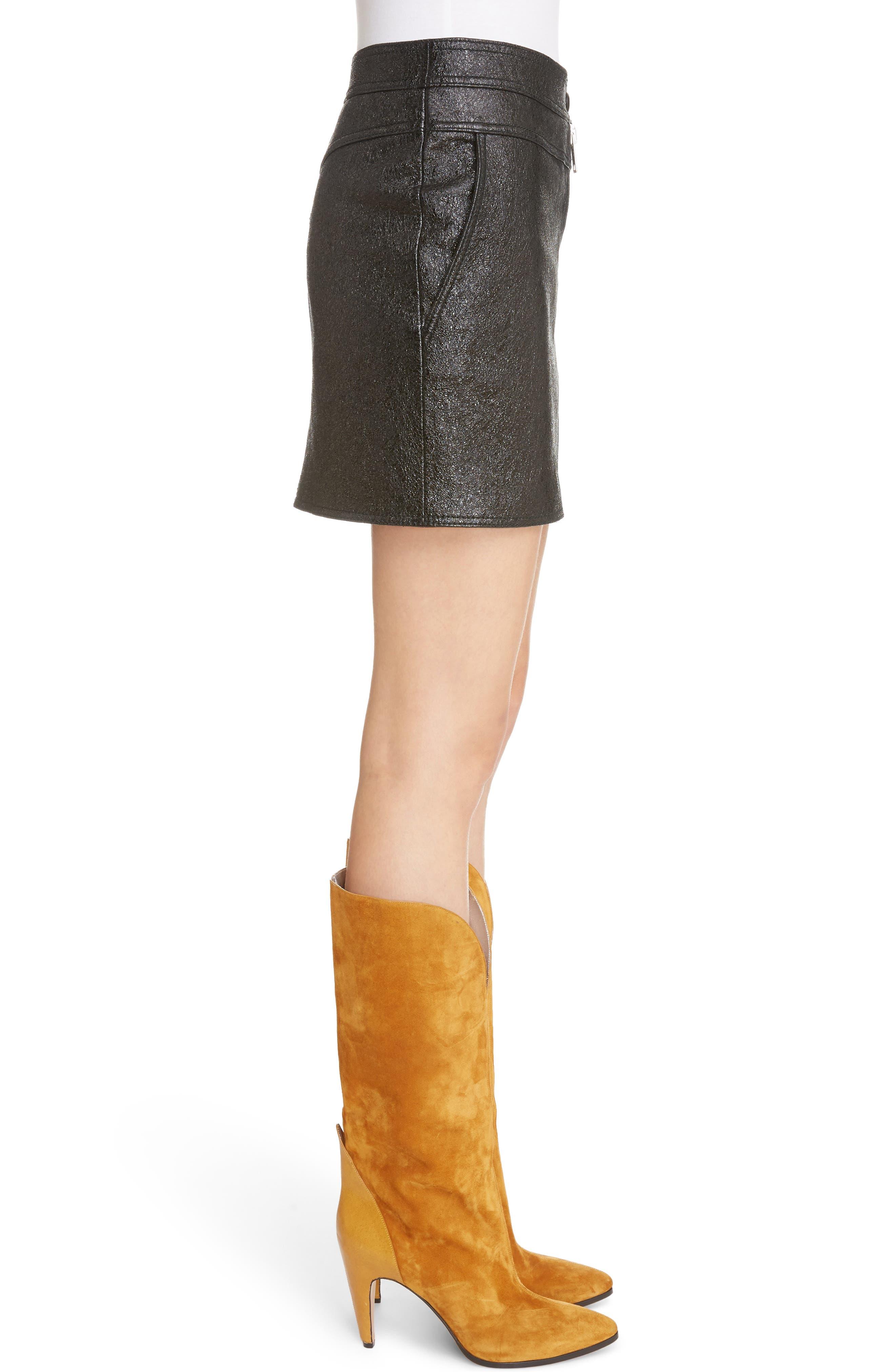 Coated Leather Miniskirt,                             Alternate thumbnail 3, color,                             001