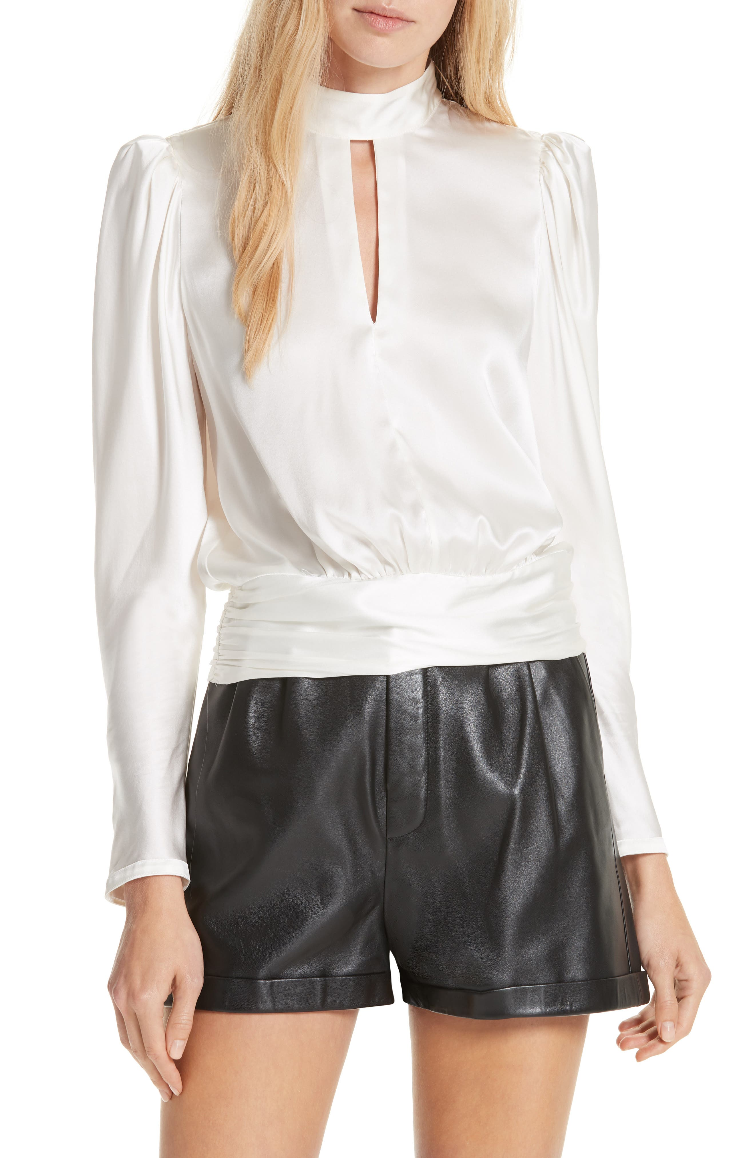 Silk Satin Keyhole Top,                         Main,                         color, OFF WHITE