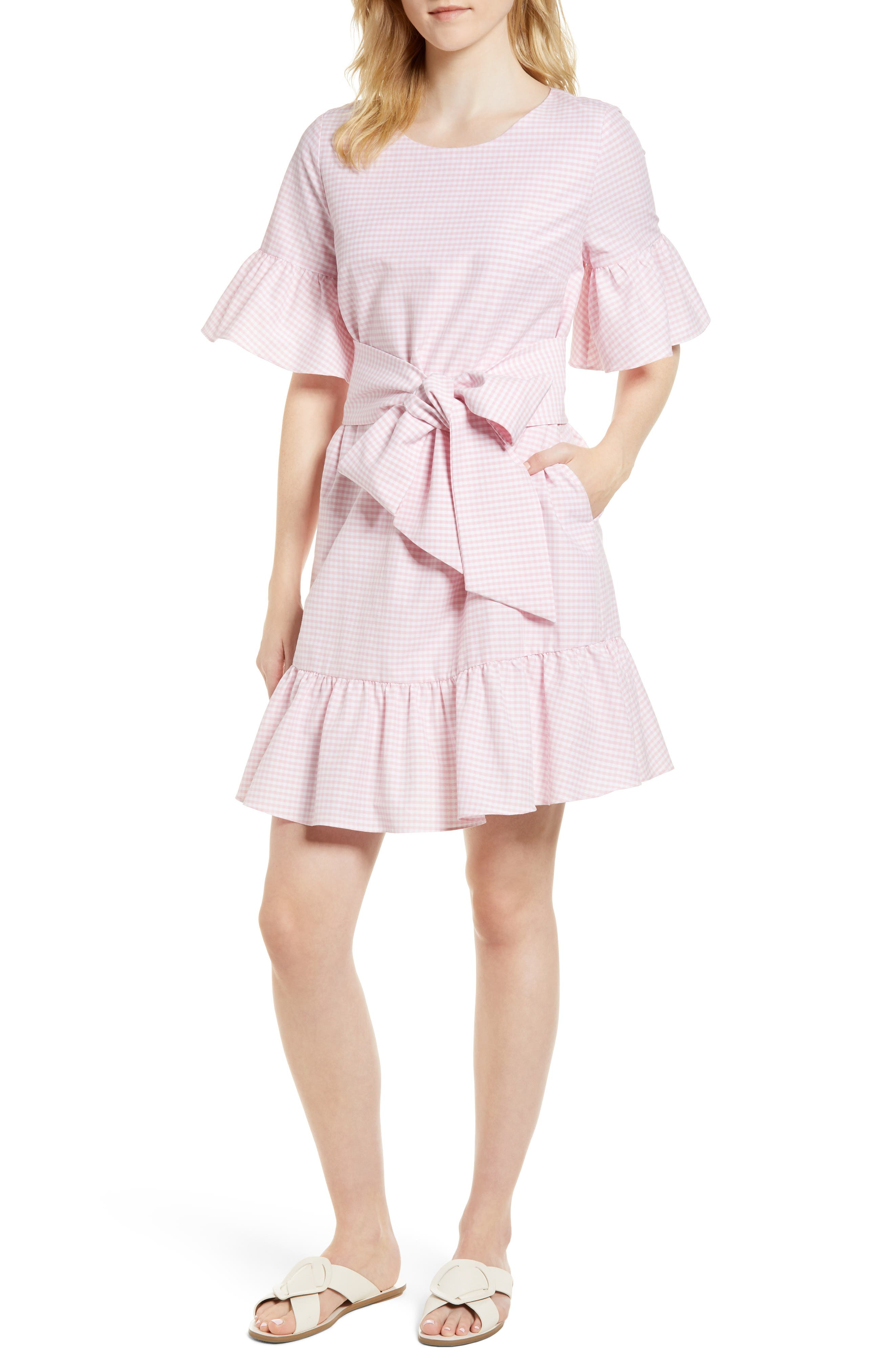Ruffle & Bow Dress,                             Main thumbnail 3, color,