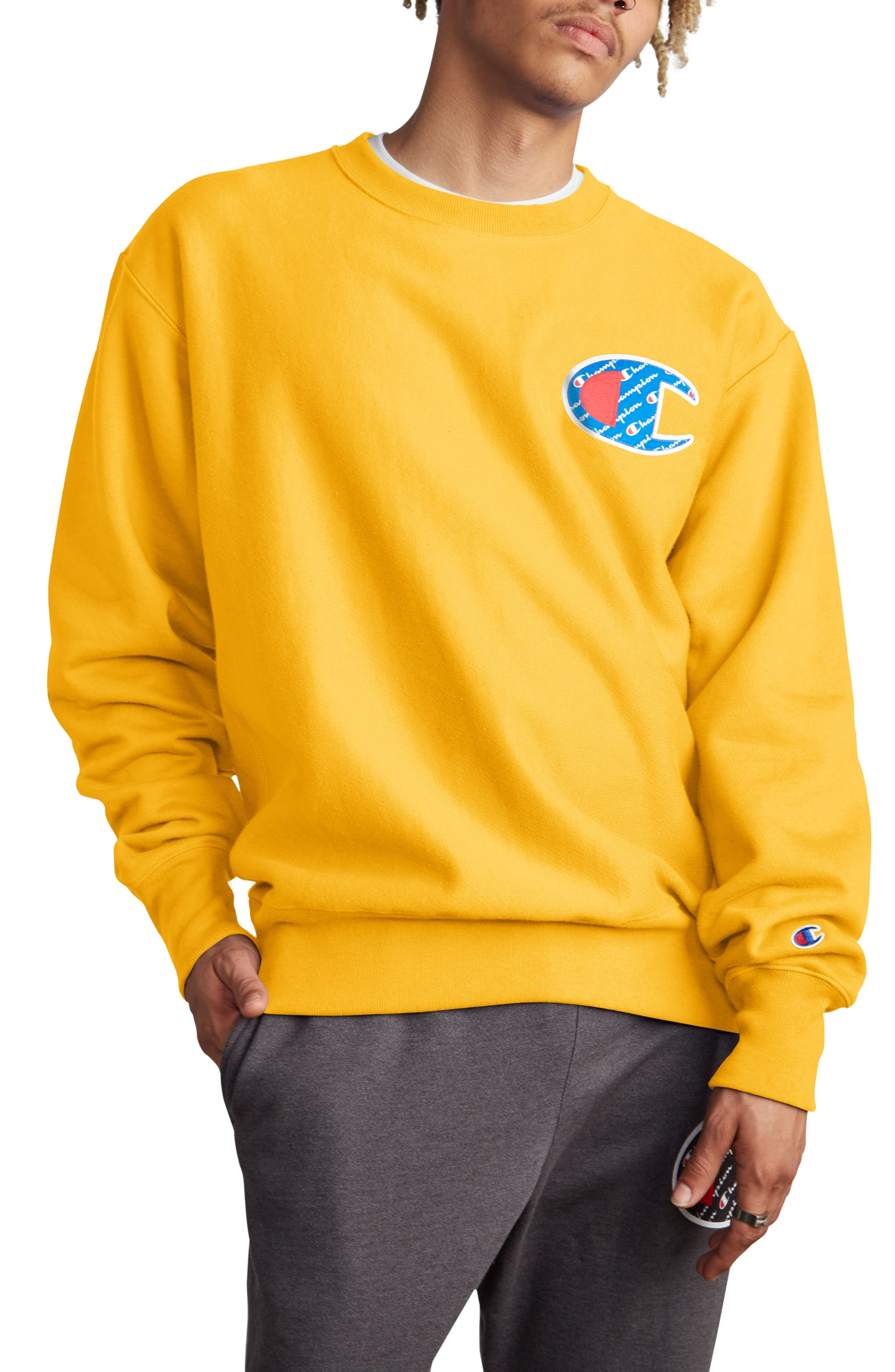 Sublimated Logo Crewneck Sweatshirt, Main, color, CHAMPION GOLD