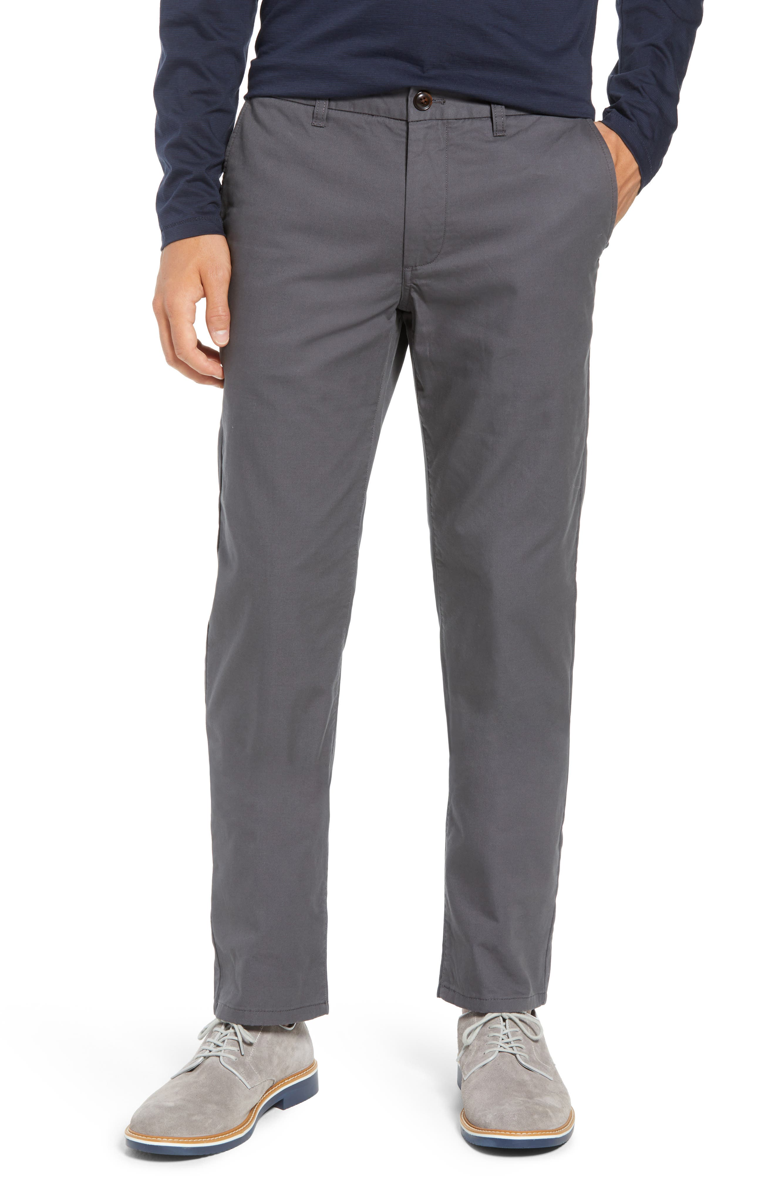 Slim Fit Flannel Lined Chinos,                         Main,                         color, COAL GREY
