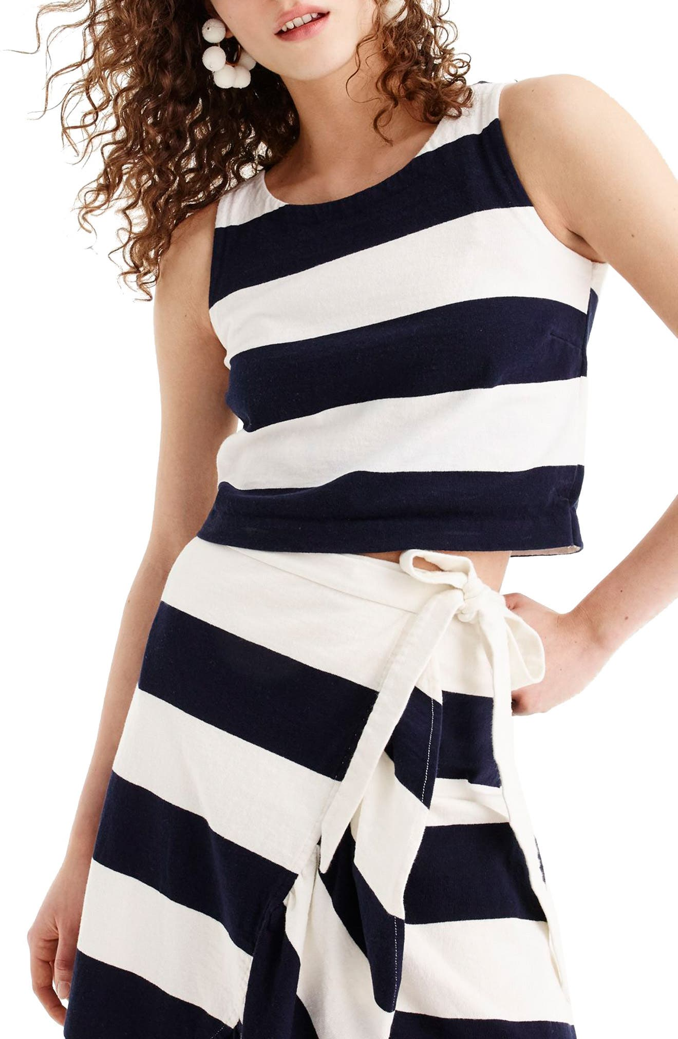 Crop Rugby Stripe Tank,                             Main thumbnail 1, color,