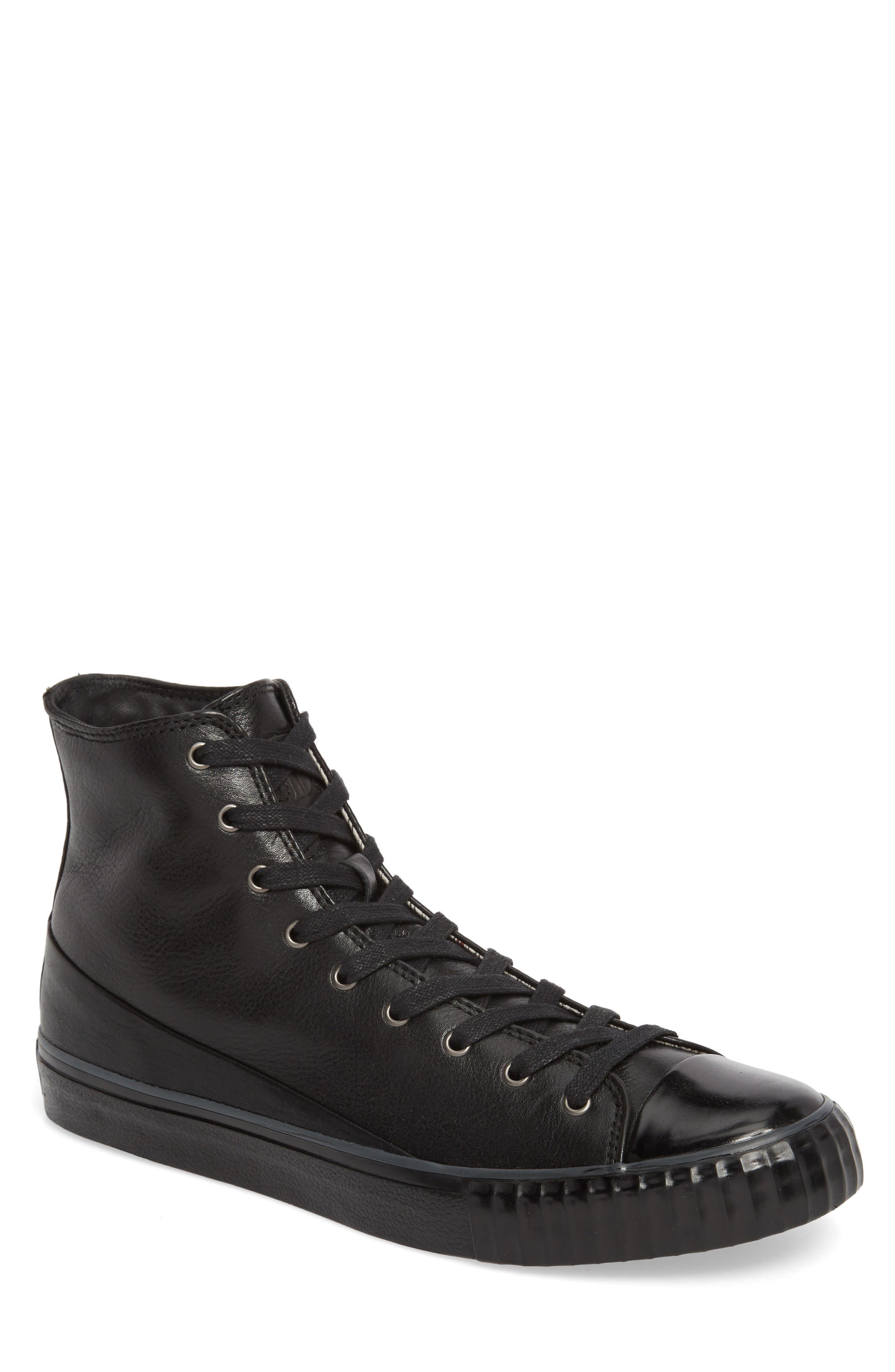 Bootleg High Top Sneaker,                             Main thumbnail 1, color,                             BLACK LEATHER