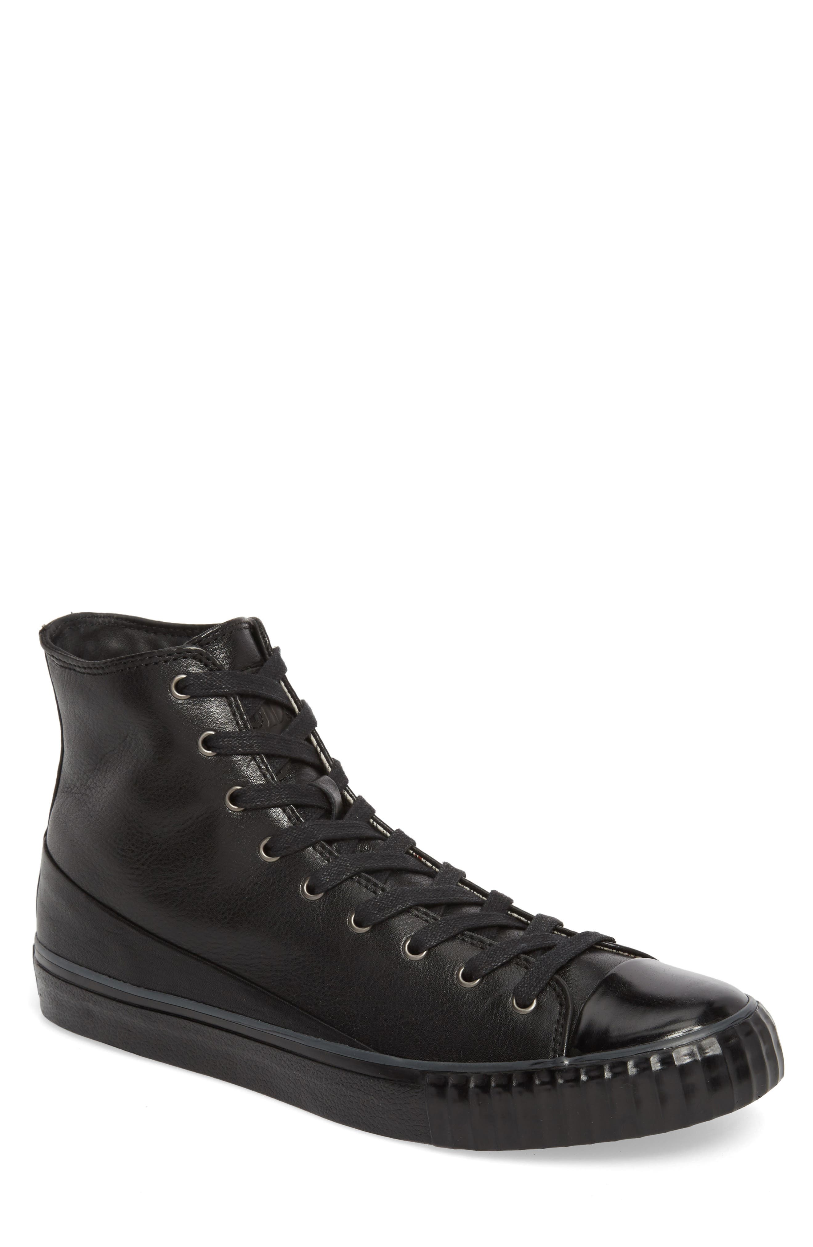 Bootleg High Top Sneaker,                         Main,                         color, BLACK LEATHER