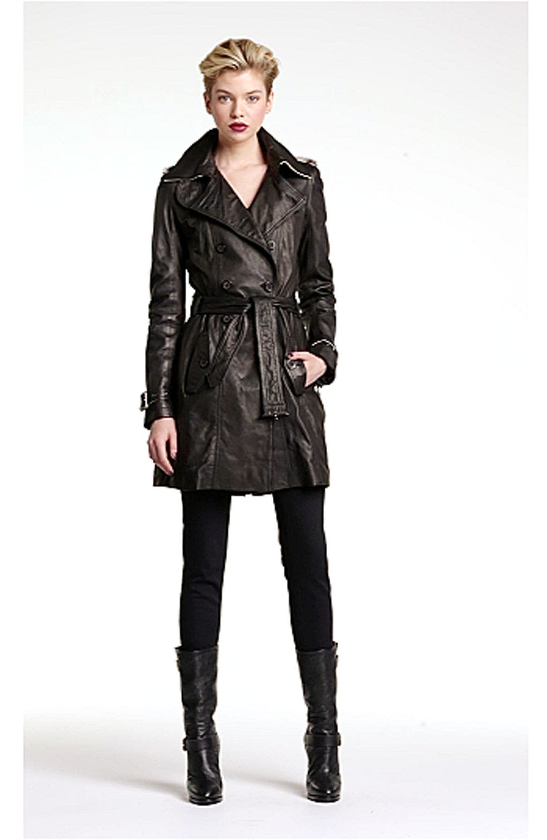 Double Breasted Leather Trench Coat,                             Alternate thumbnail 2, color,                             001