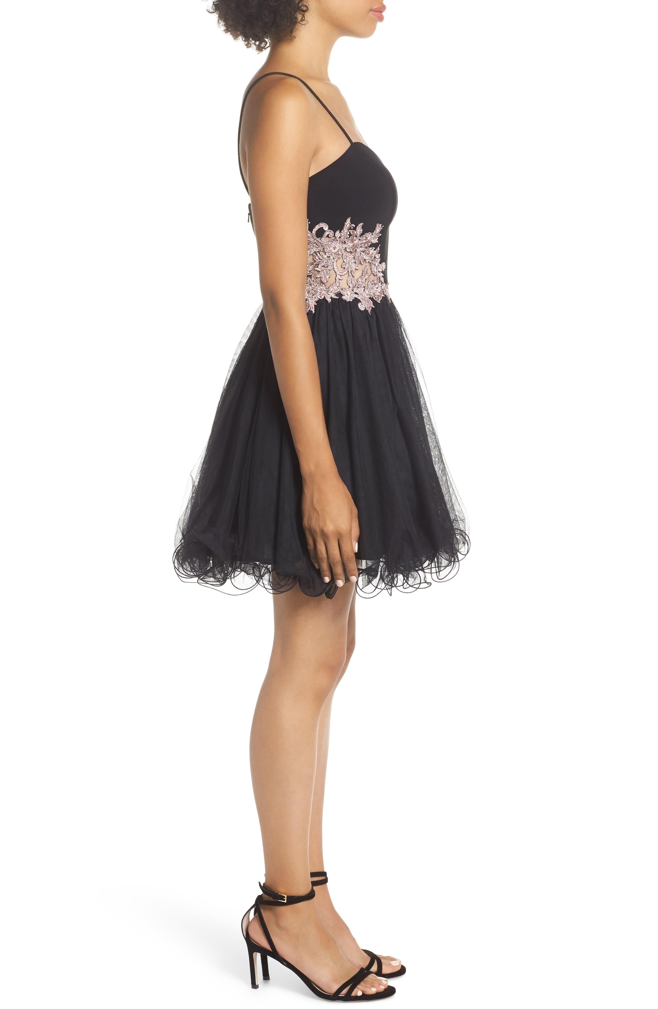 Appliqué Sweetheart Fit & Flare Dress,                             Alternate thumbnail 3, color,                             BLACK/ ROSE