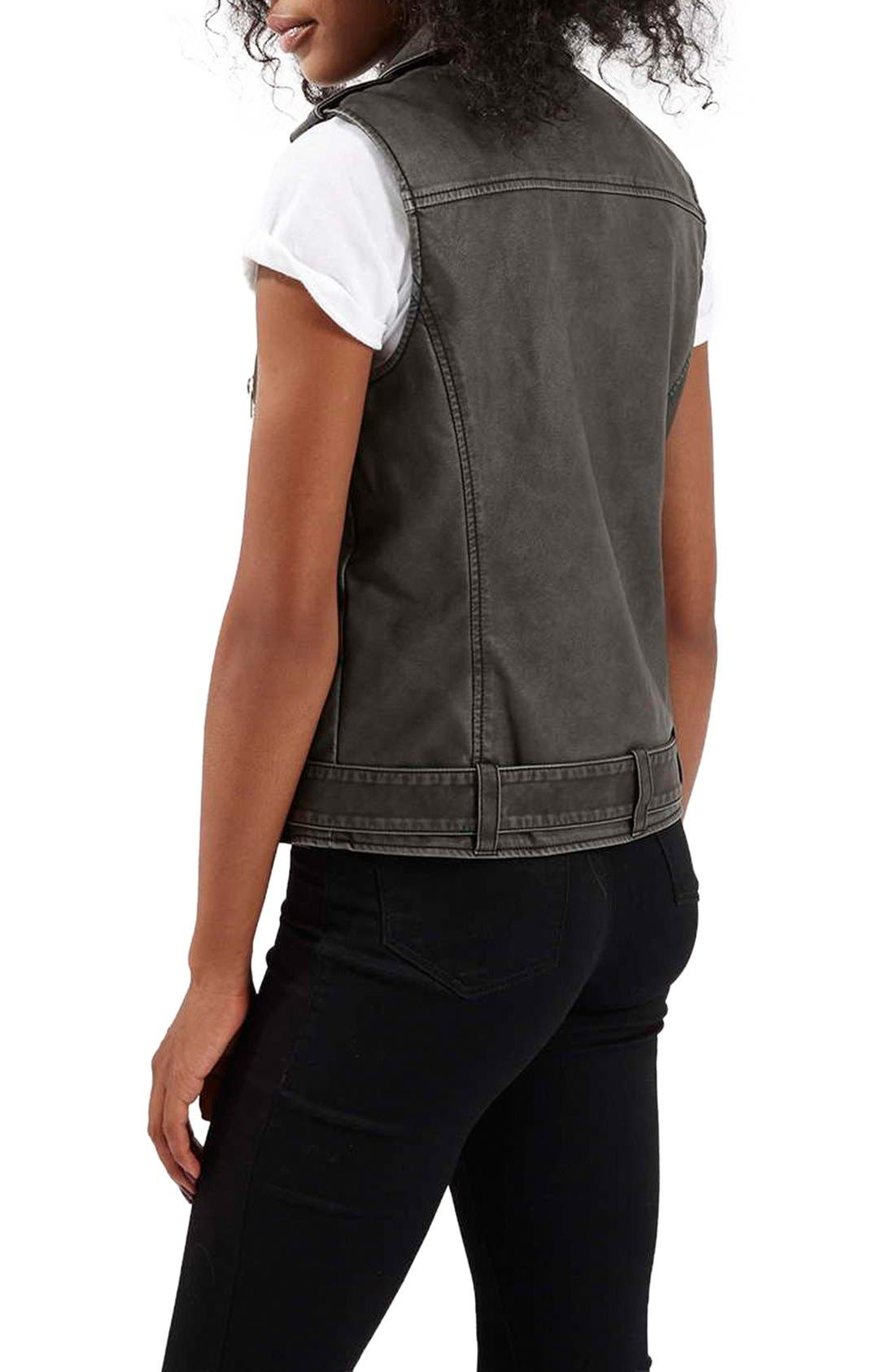 TOPSHOP,                             'Sylvia' Faux Leather Moto Vest,                             Alternate thumbnail 4, color,                             001