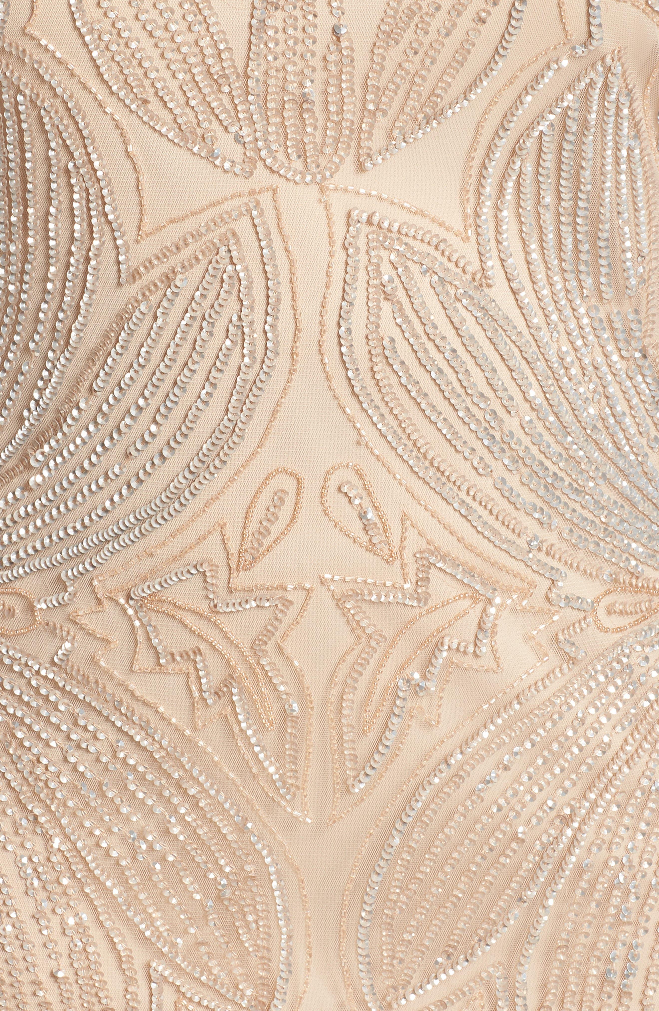 Beaded Sheath Dress,                             Alternate thumbnail 5, color,                             CHAMPAGNE