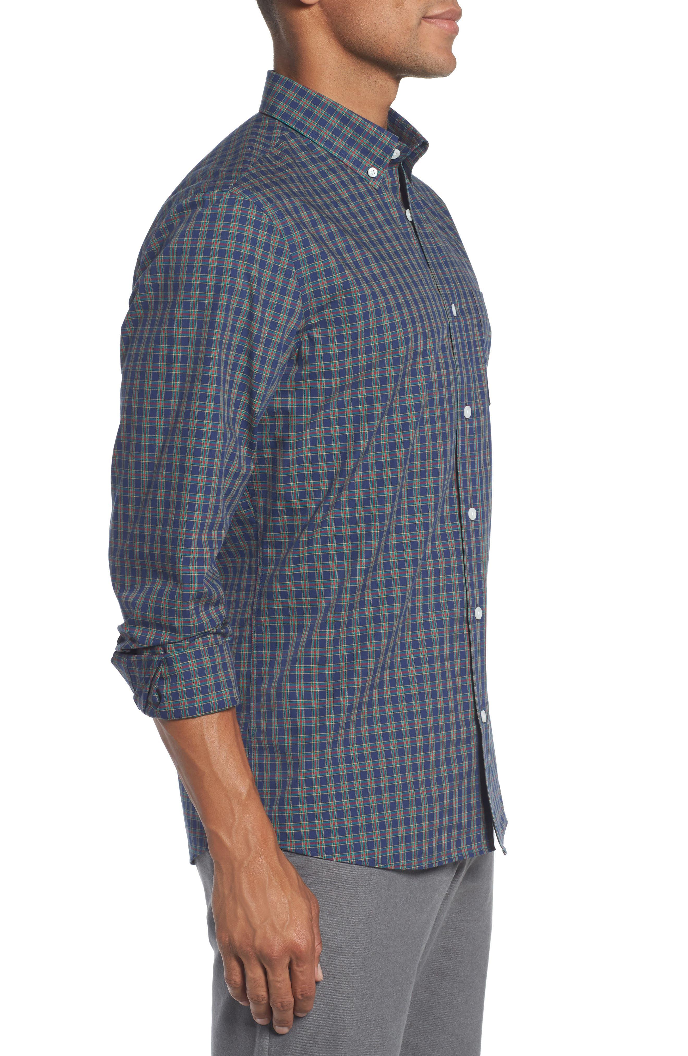 Trim Fit Non-Iron Plaid Sport Shirt,                             Alternate thumbnail 3, color,                             410