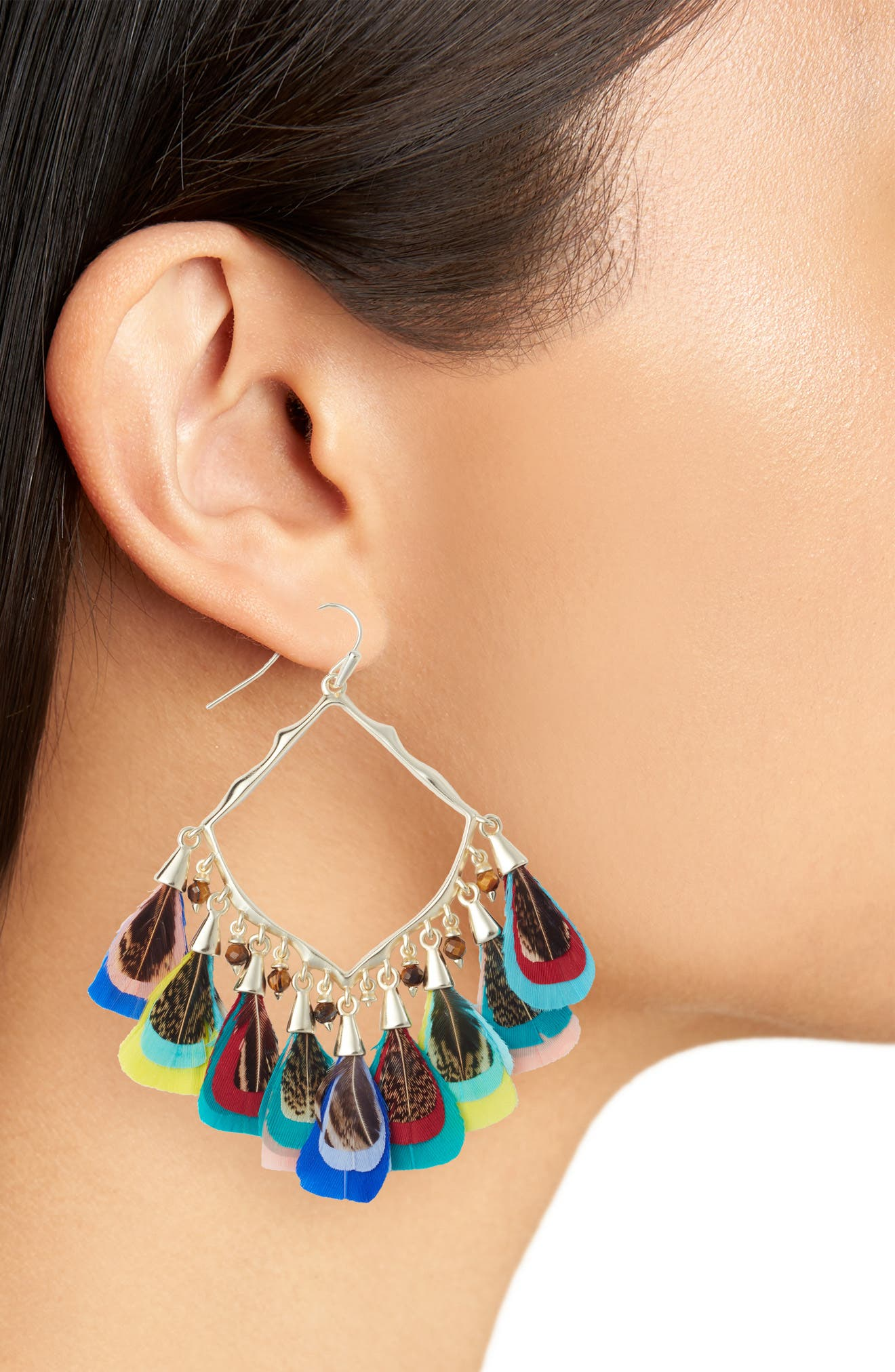 Raven Earrings,                             Alternate thumbnail 2, color,                             MULTI FTHR/ BEAD MIX/ GOLD