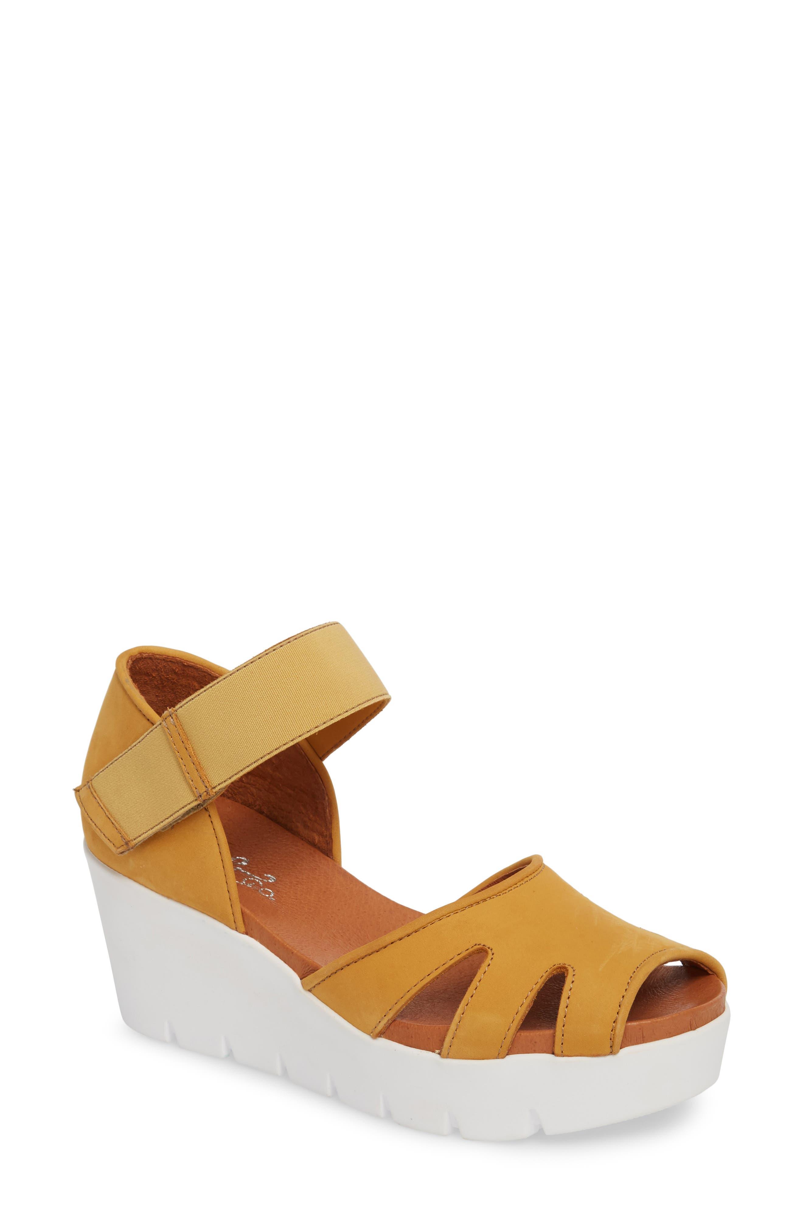 Bos. & Co. Sharon Platform Wedge Sandal - Yellow