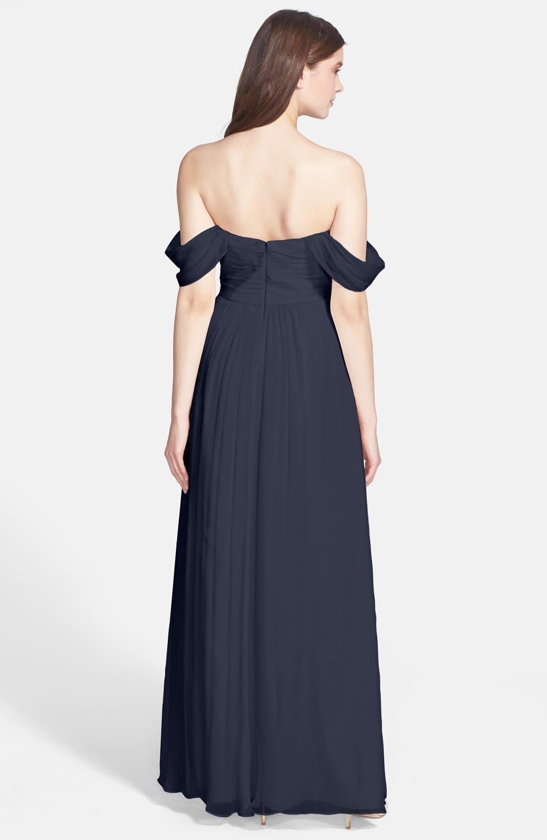 Convertible Crinkled Silk Chiffon Gown,                             Alternate thumbnail 17, color,
