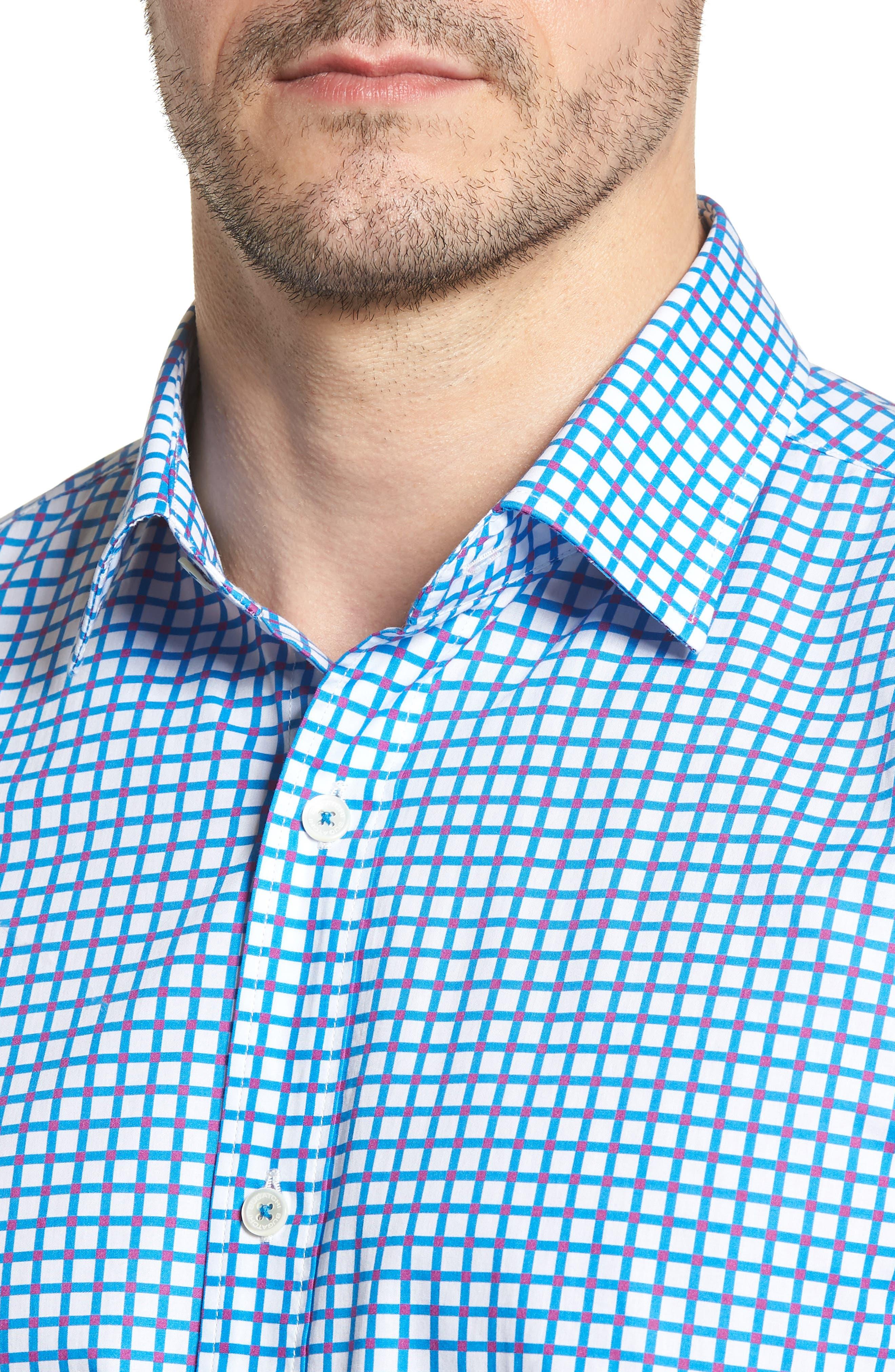 Classic Fit Dot Check Sport Shirt,                             Alternate thumbnail 4, color,                             TURQUOISE