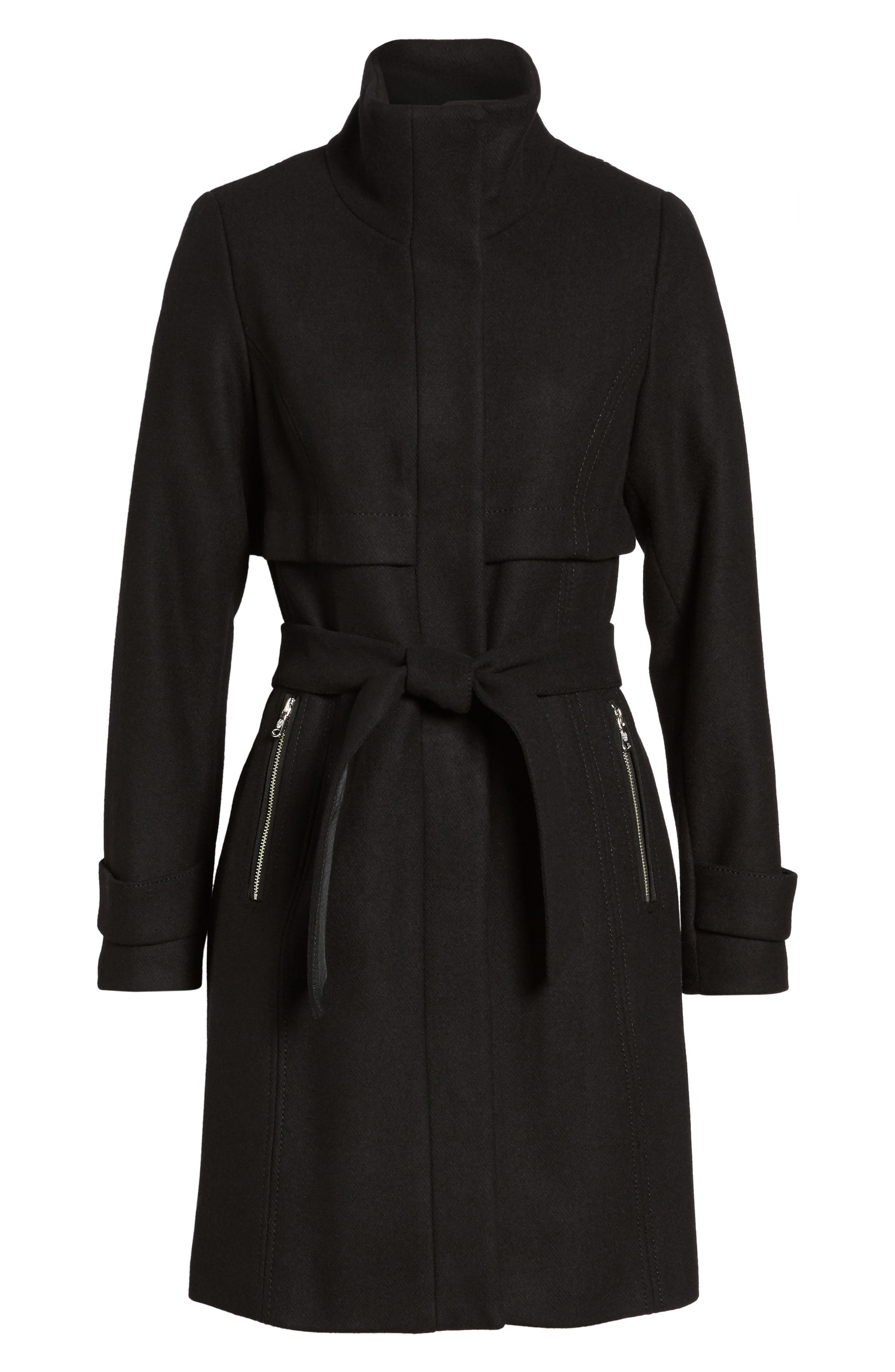 Flange Belted Coat,                             Alternate thumbnail 5, color,                             001