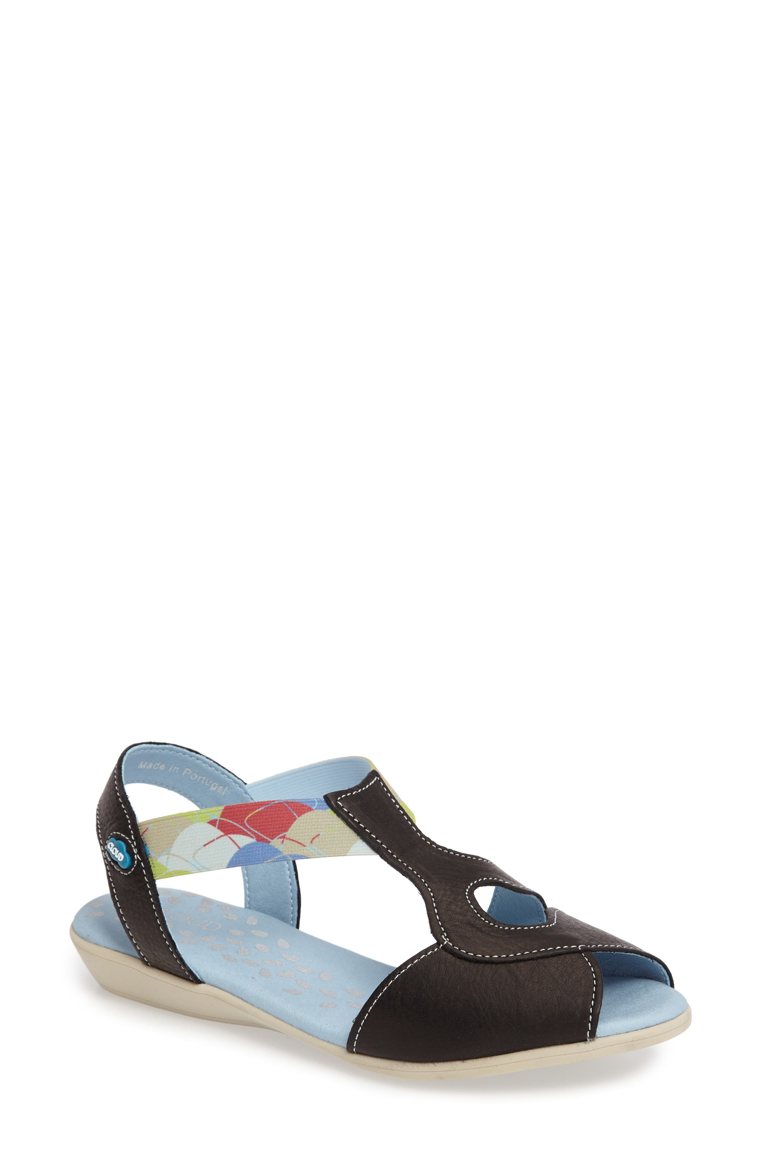 Chaya Sandal,                         Main,                         color, BLACK LEATHER