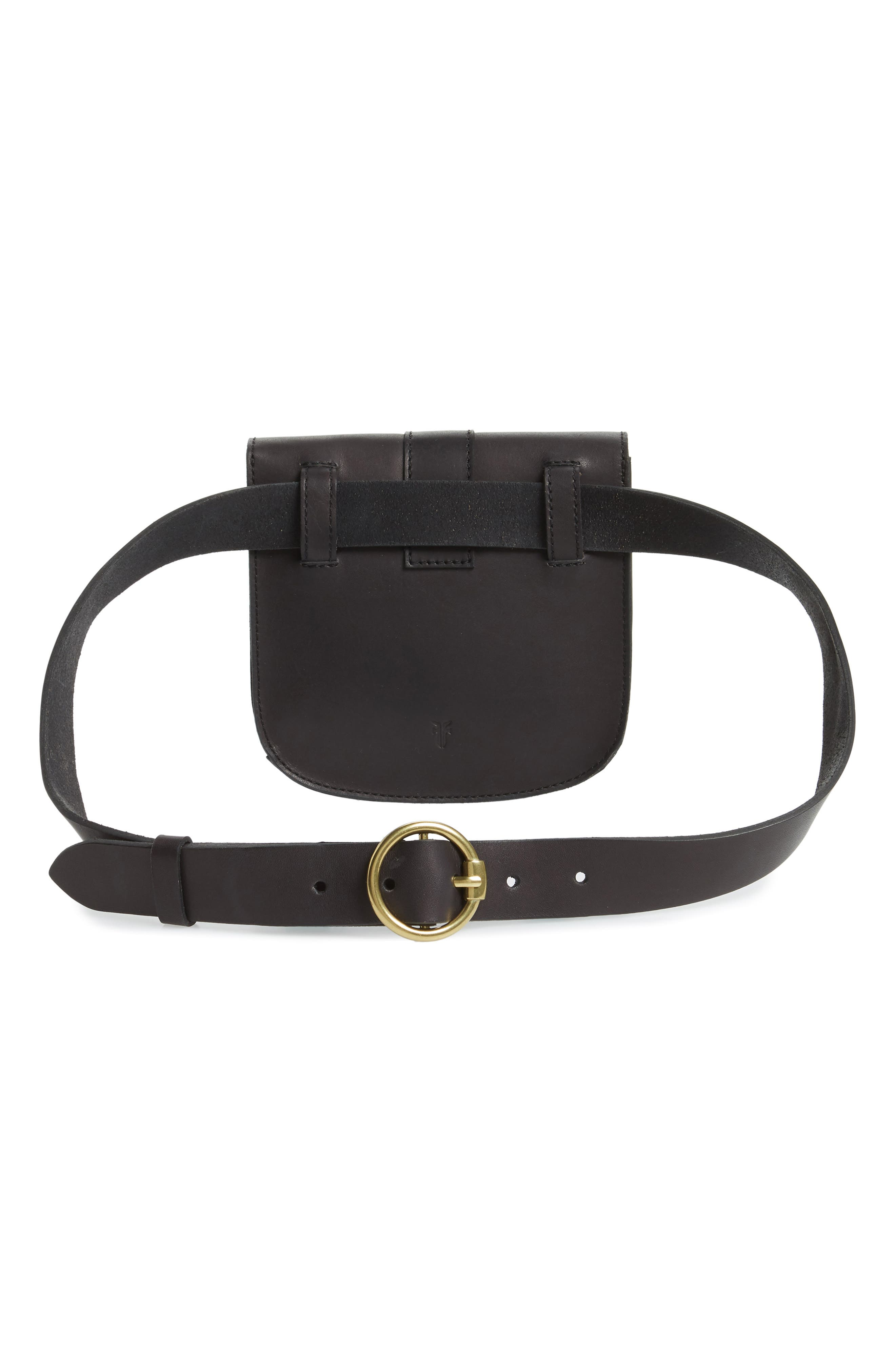Leather Belt Bag,                             Alternate thumbnail 4, color,                             BLACK/ ECRU STITCH