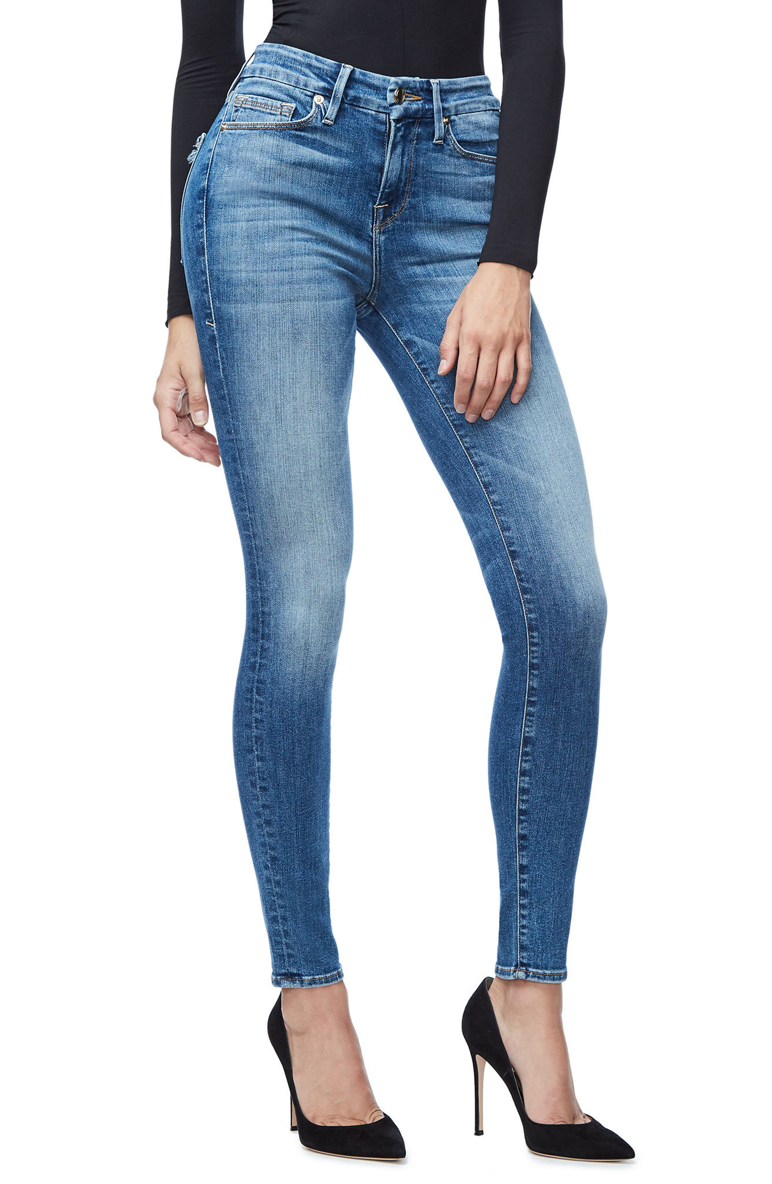 Good Legs High Waist Skinny Jeans (Blue 107),                             Alternate thumbnail 4, color,                             401