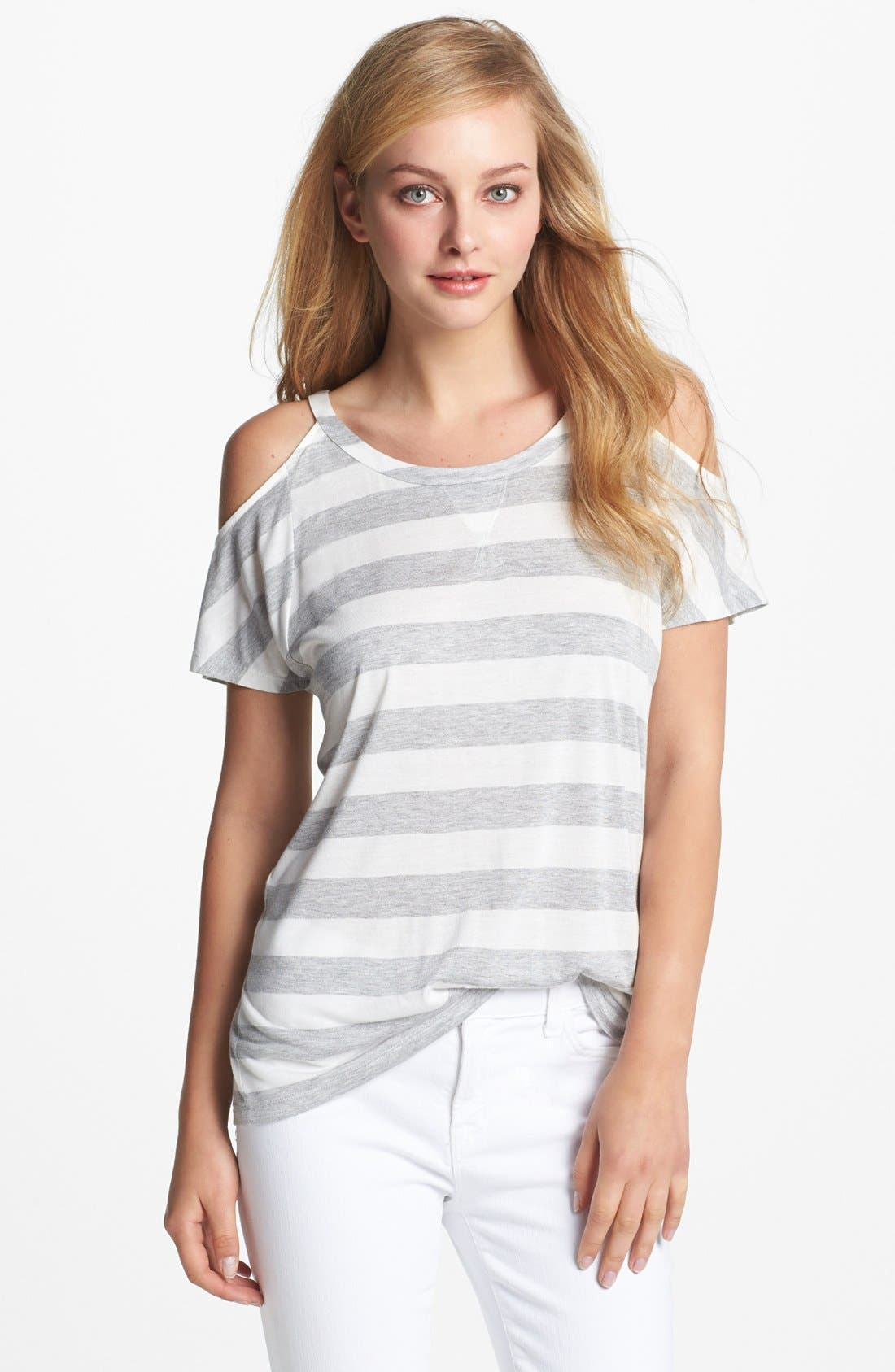 TWO BY VINCE CAMUTO,                             Stripe Cold Shoulder Tee,                             Main thumbnail 1, color,                             097