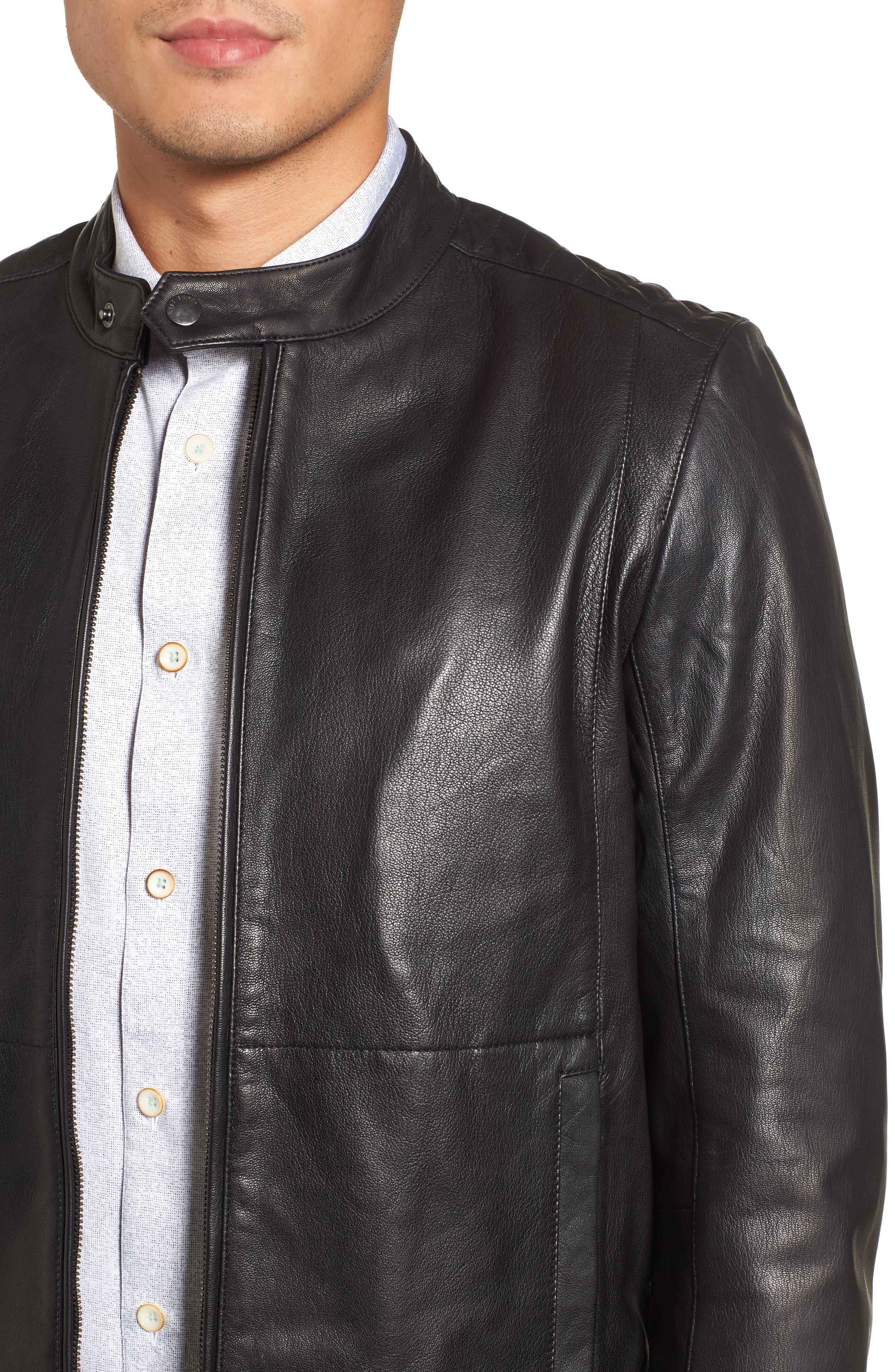 Mate Leather Biker Jacket,                             Alternate thumbnail 4, color,                             001