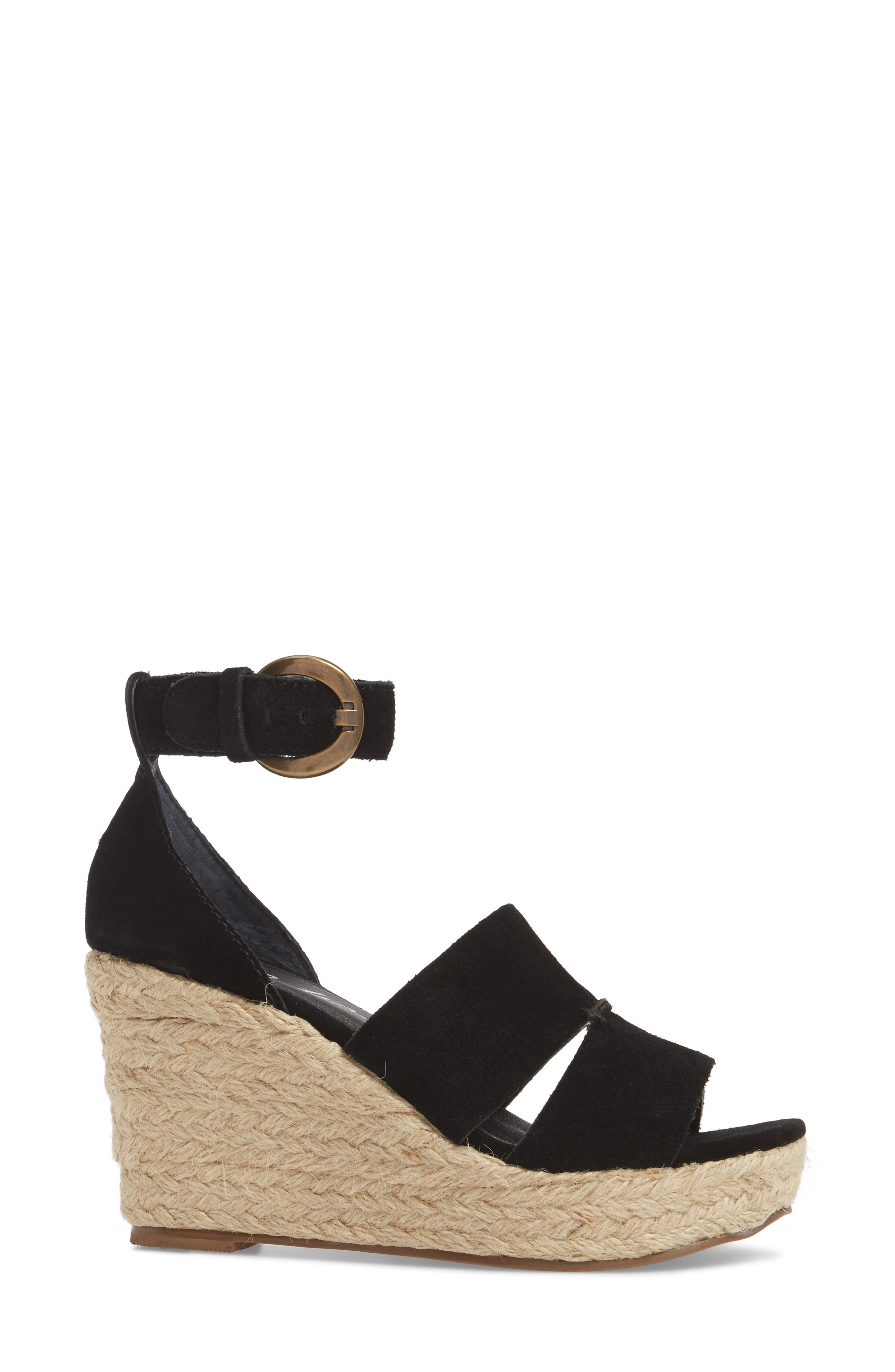 Cha Cha Espadrille Wedge Sandal,                             Alternate thumbnail 3, color,                             BLACK SUEDE