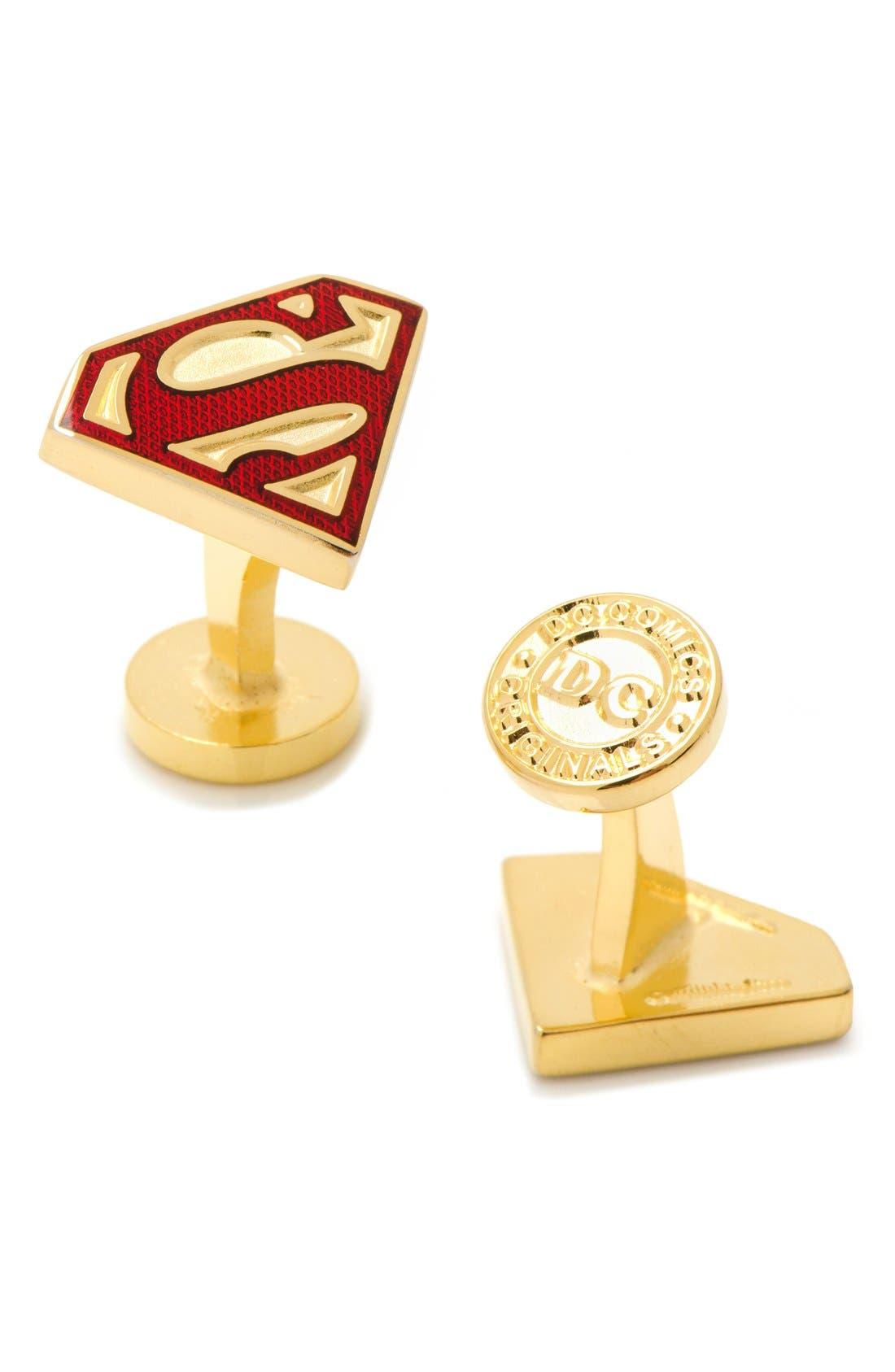 'Superman Shield' Cuff Links,                             Main thumbnail 1, color,                             GOLD