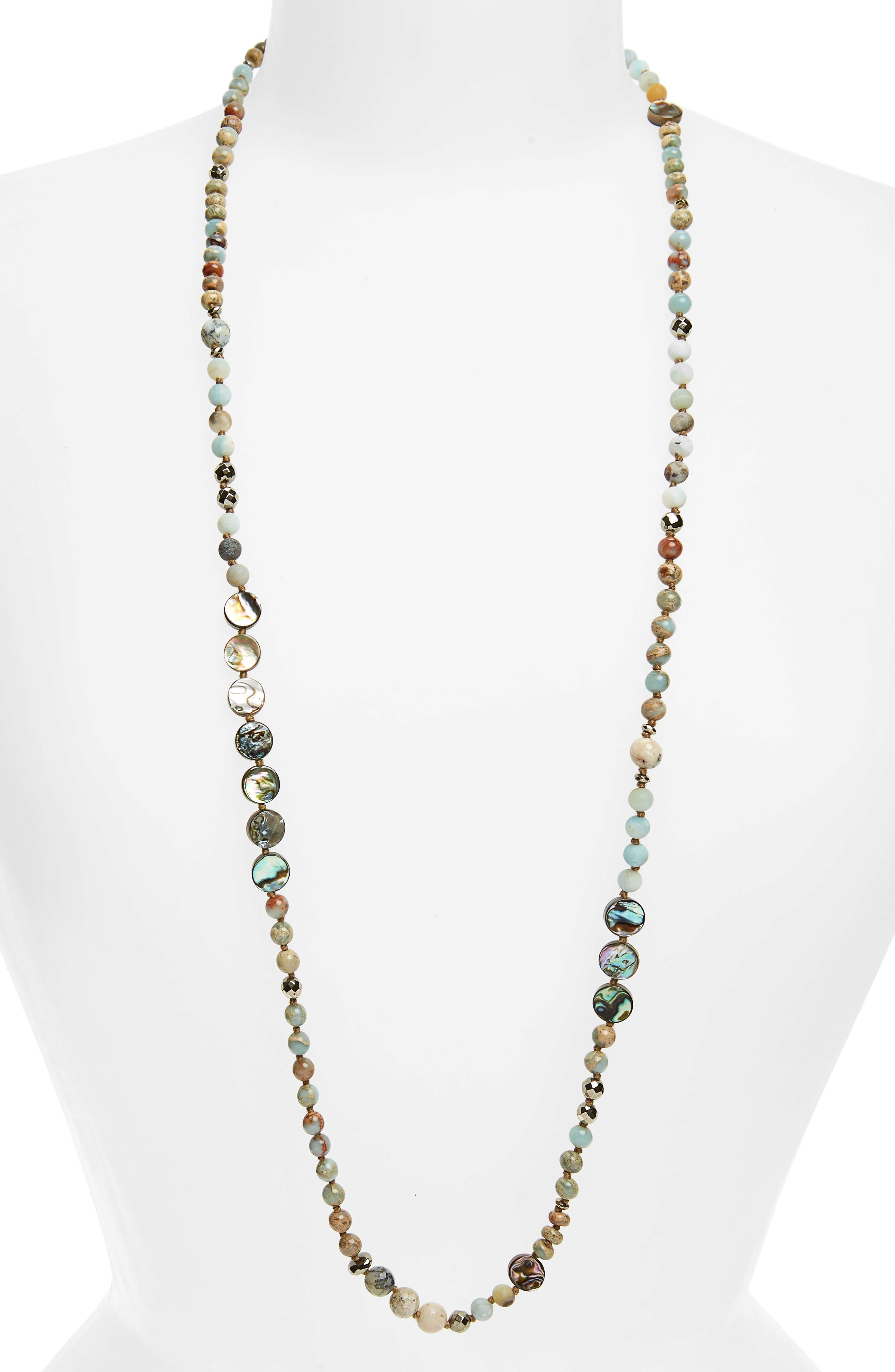 Semiprecious Stone Necklace,                             Main thumbnail 1, color,                             AQUA TERRA