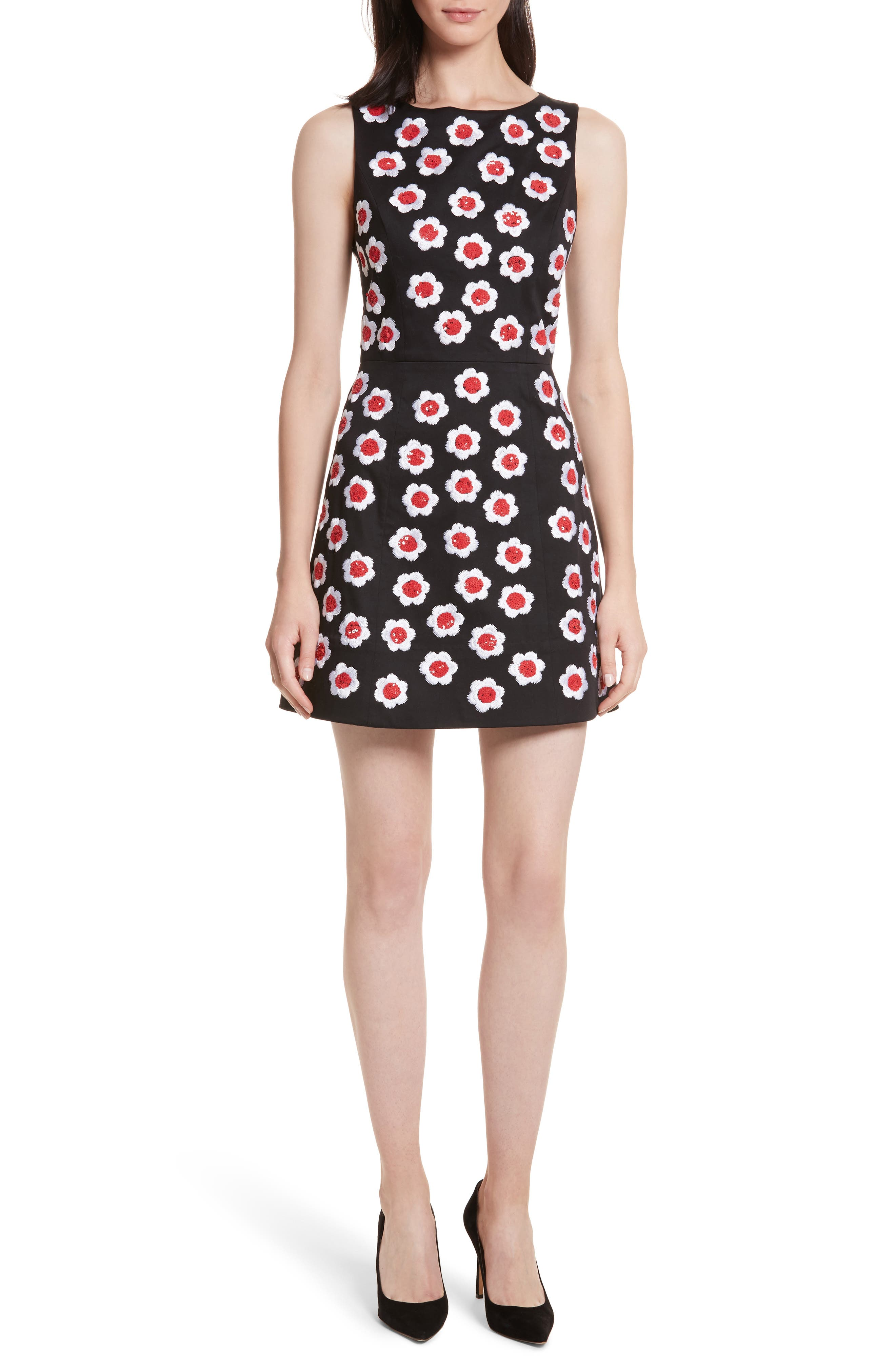 Lindsey Embroidered A-Line Dress,                         Main,                         color, 019