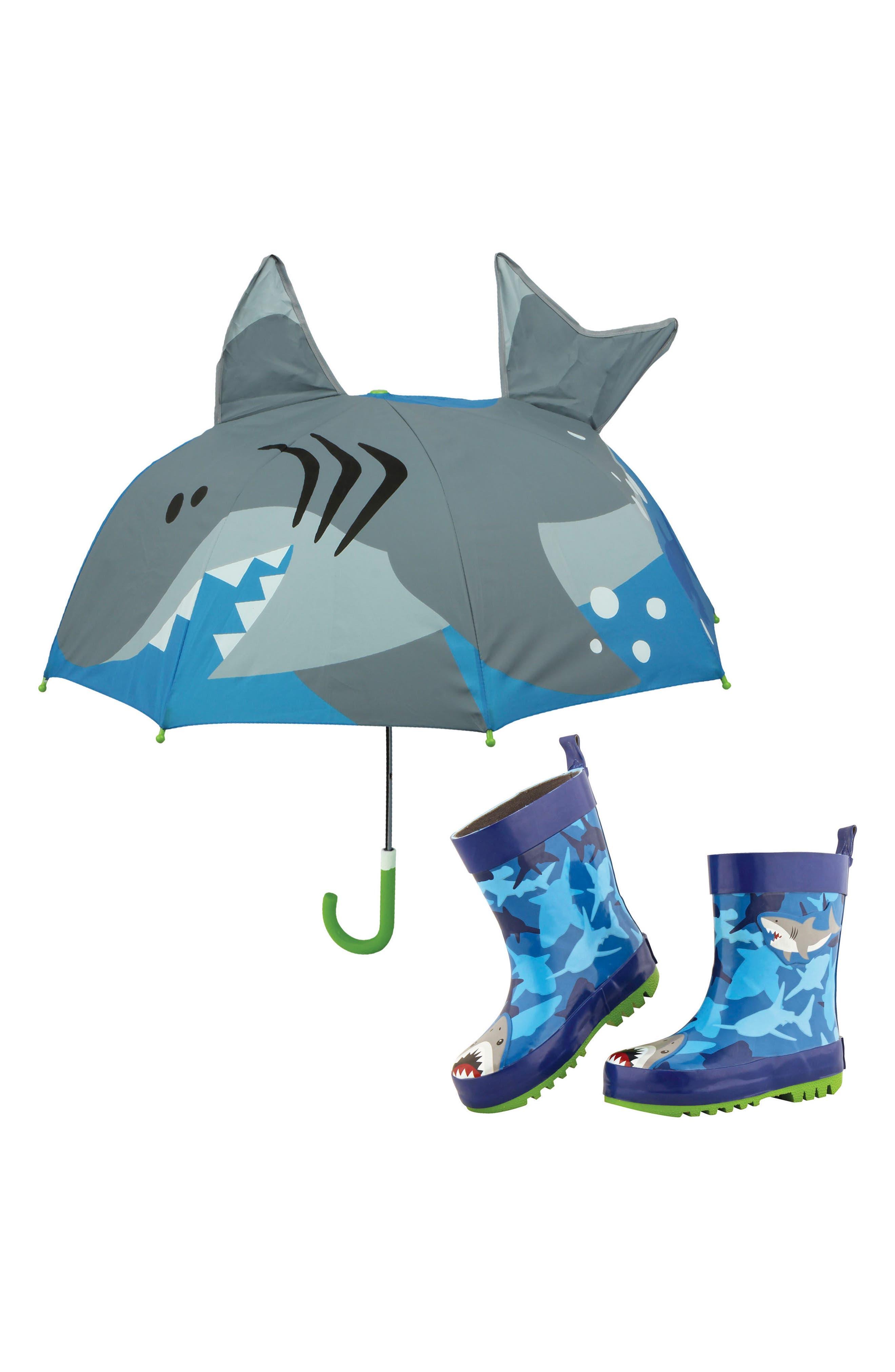 Shark Rain Boots & Umbrella Set,                             Main thumbnail 1, color,                             SHARK