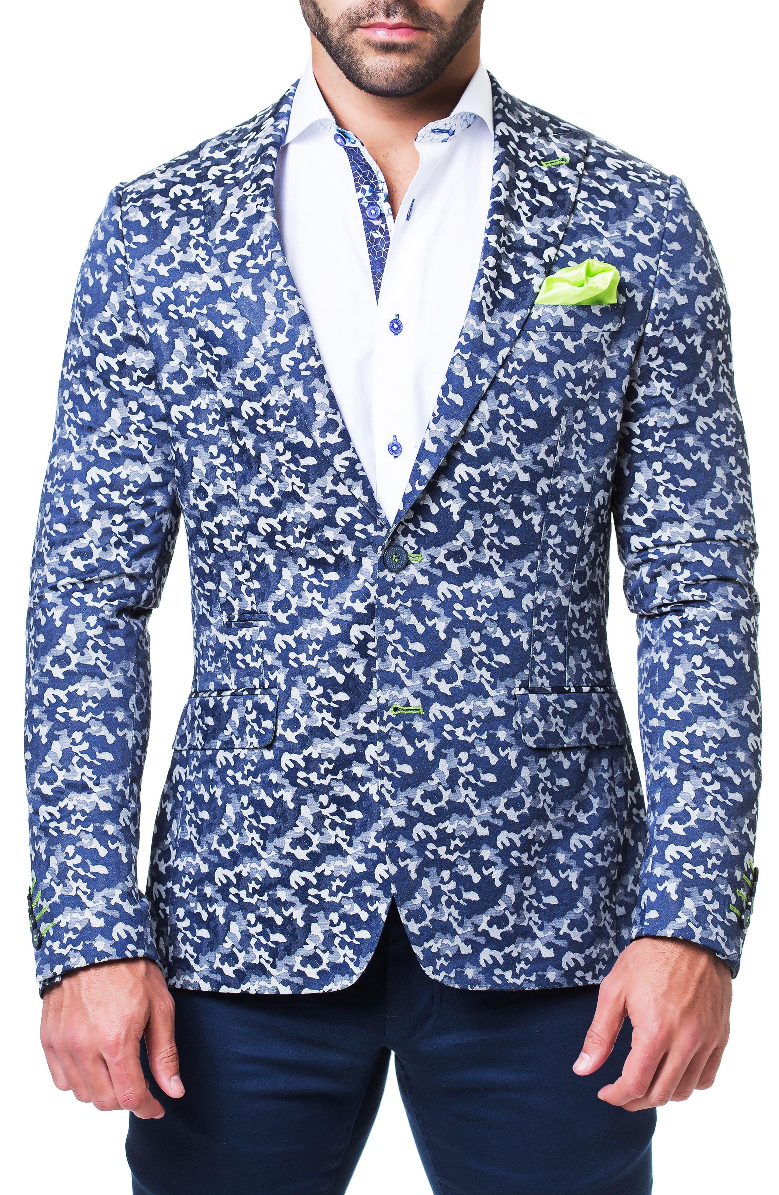 MACEOO Camo Sport Coat in Grey