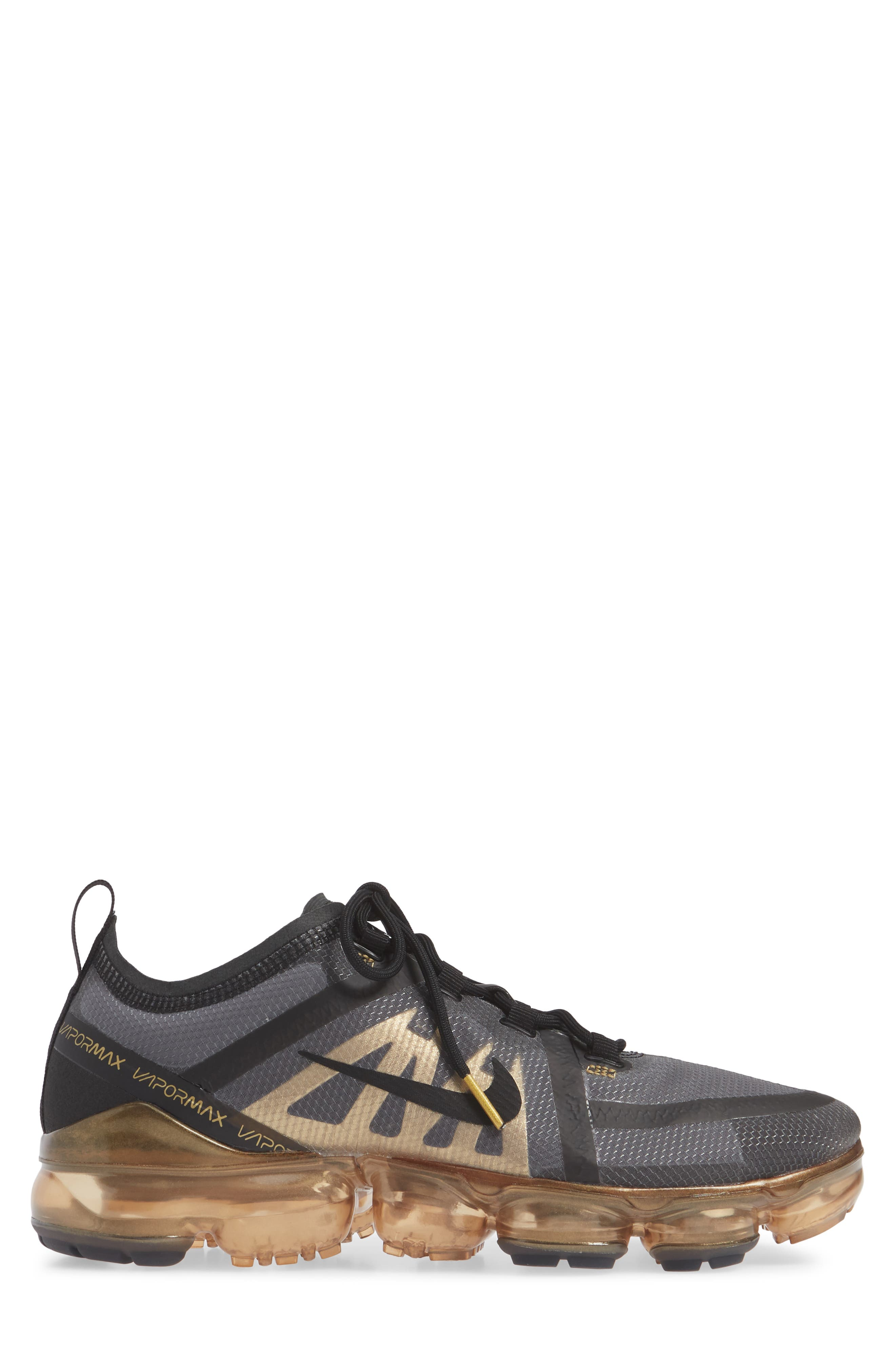 NIKE,                             Air VaporMax 2019 Running Shoe,                             Alternate thumbnail 3, color,                             BLACK/ METALLIC GOLD