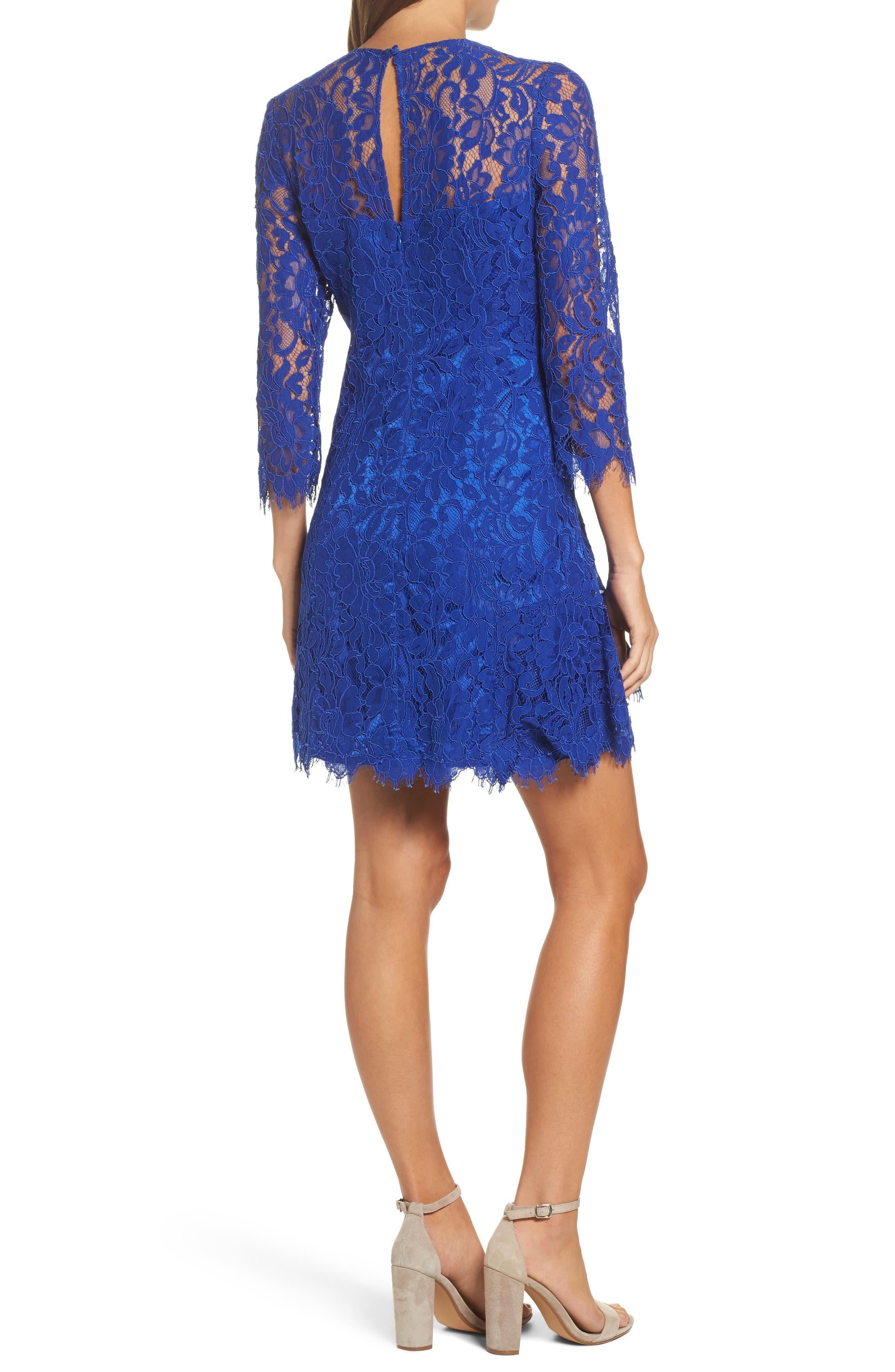 Lace Fit & Flare Dress,                             Alternate thumbnail 2, color,                             430