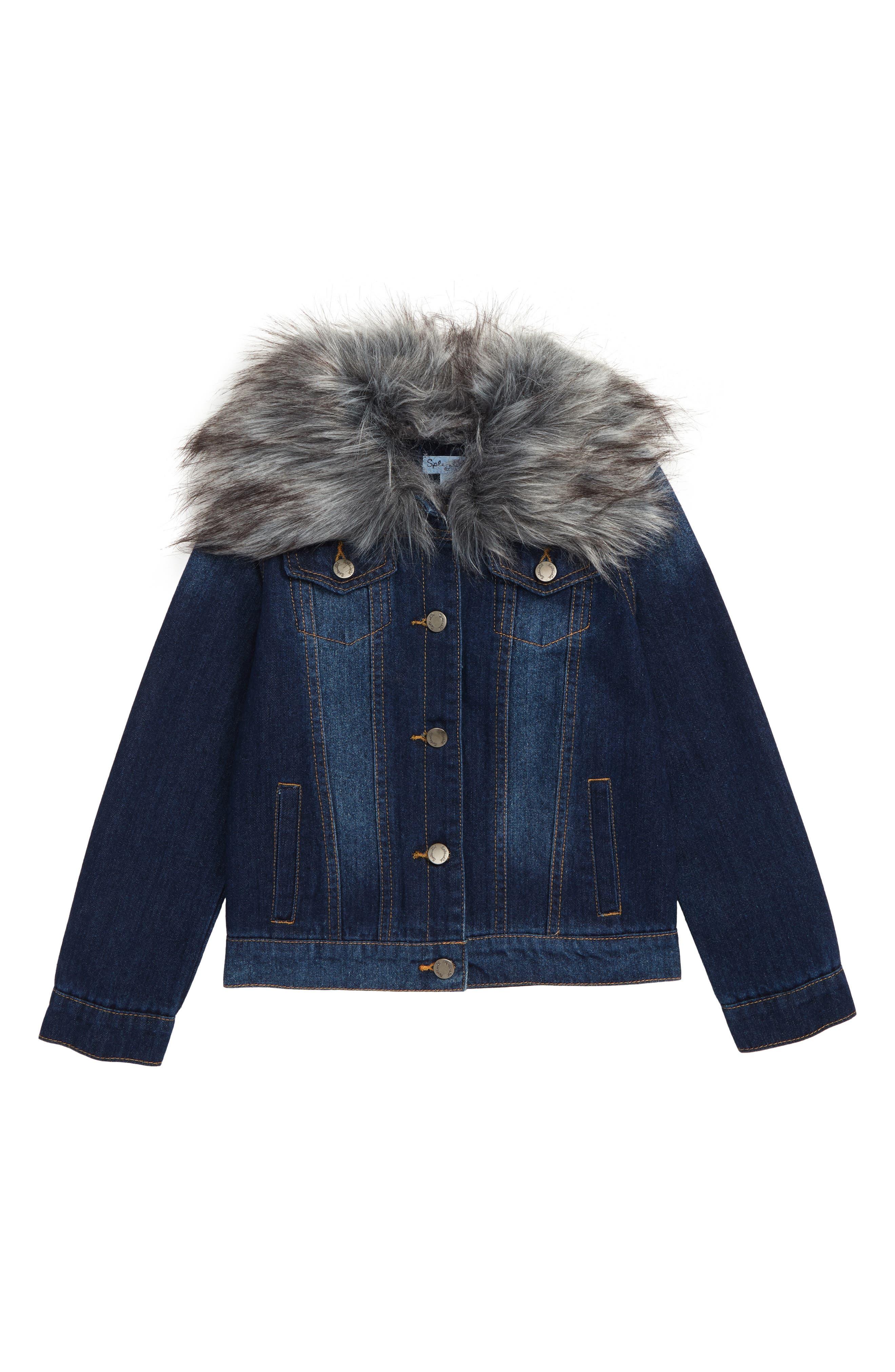 Denim Jacket with Removable Faux Fur Collar,                             Main thumbnail 1, color,                             MEDIUM STONE