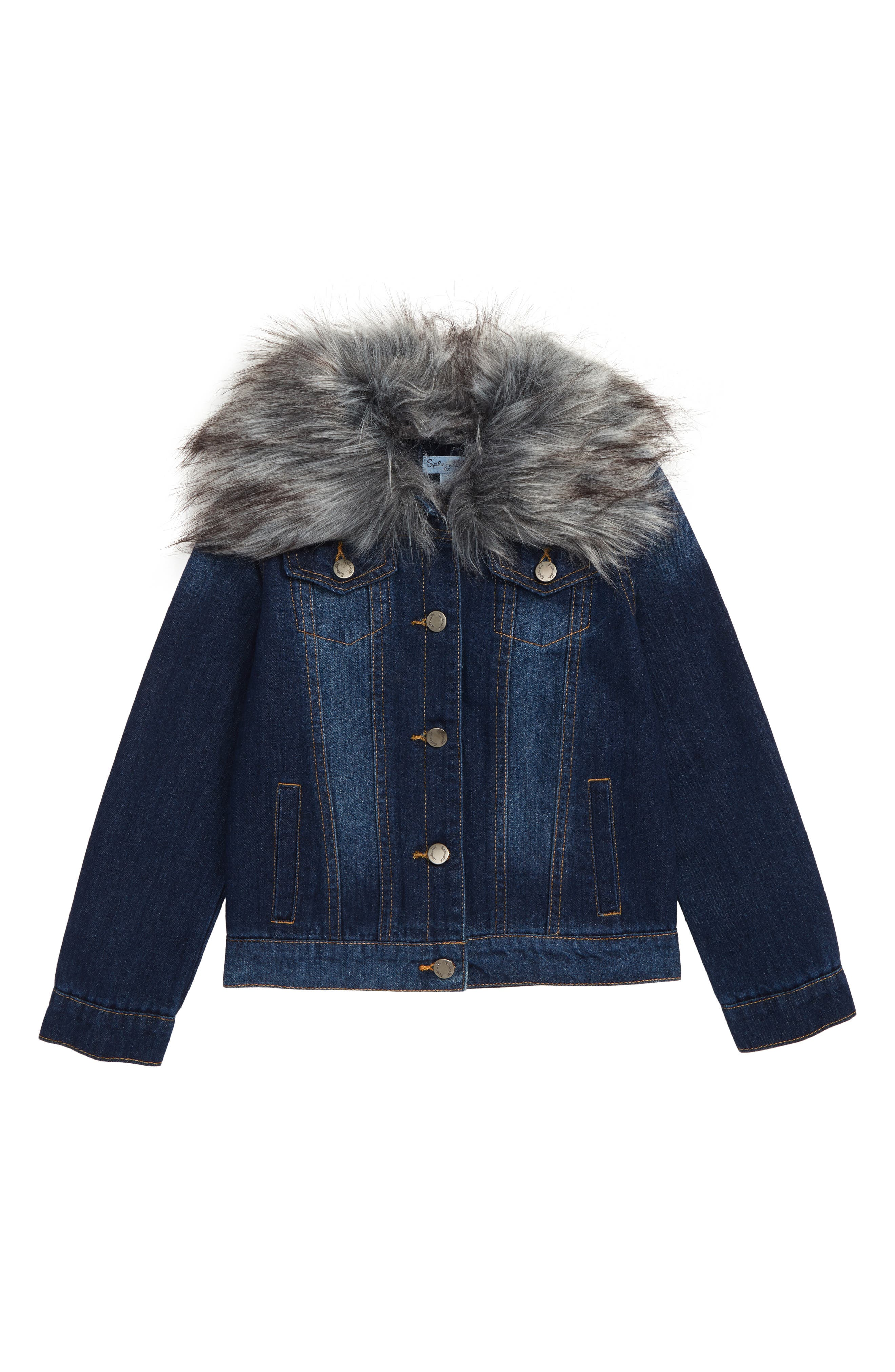 Denim Jacket with Removable Faux Fur Collar,                         Main,                         color, MEDIUM STONE