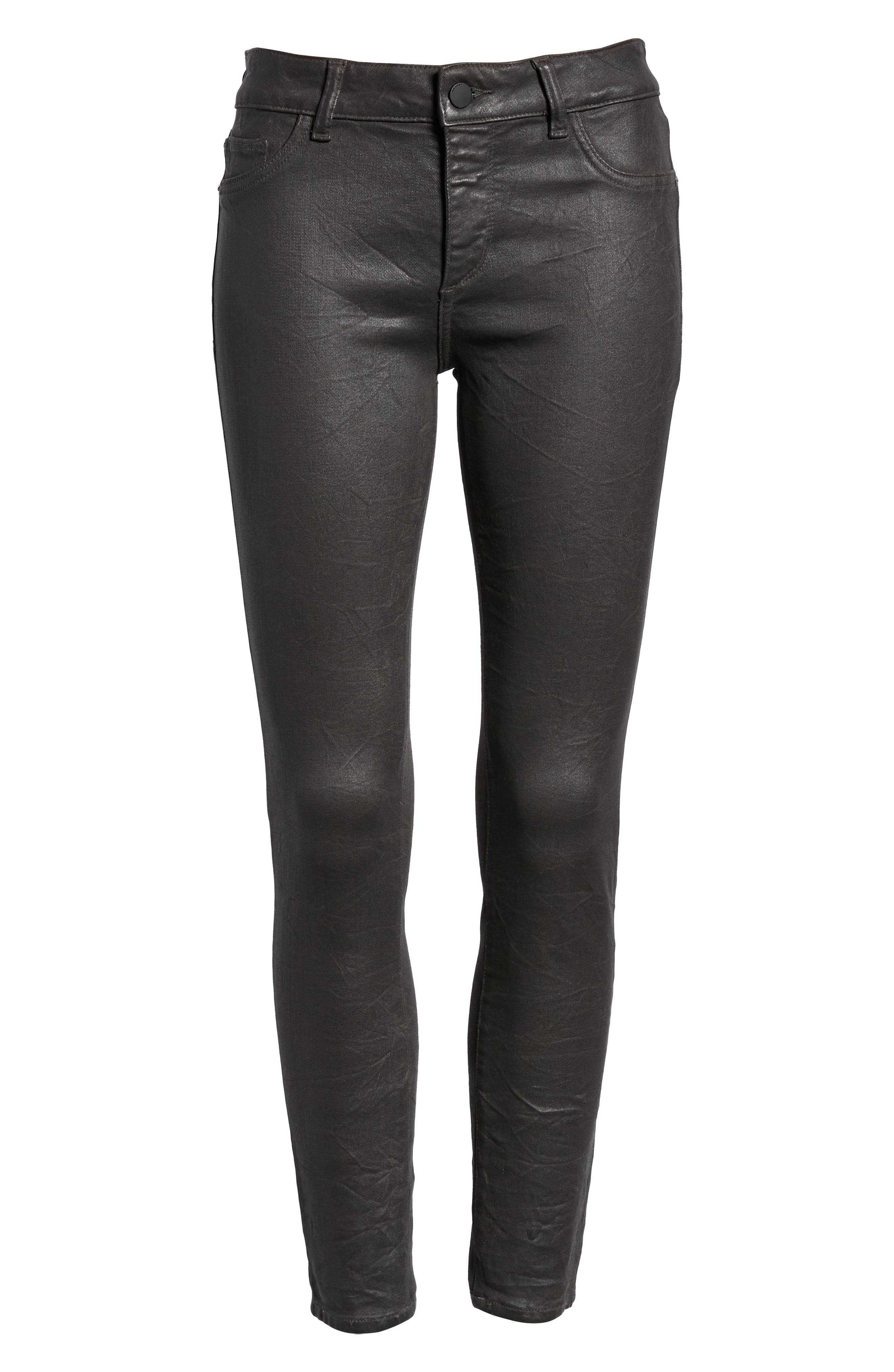 Florence Instasculpt Coated Ankle Skinny Jeans,                             Alternate thumbnail 7, color,                             PEWTER