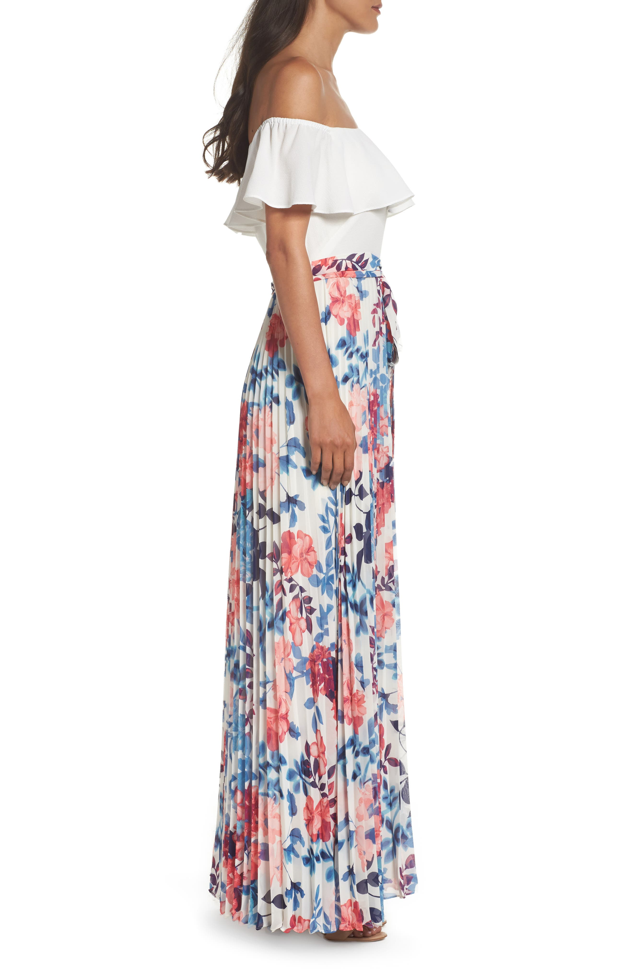 Off the Shoulder Maxi Dress,                             Alternate thumbnail 3, color,                             903