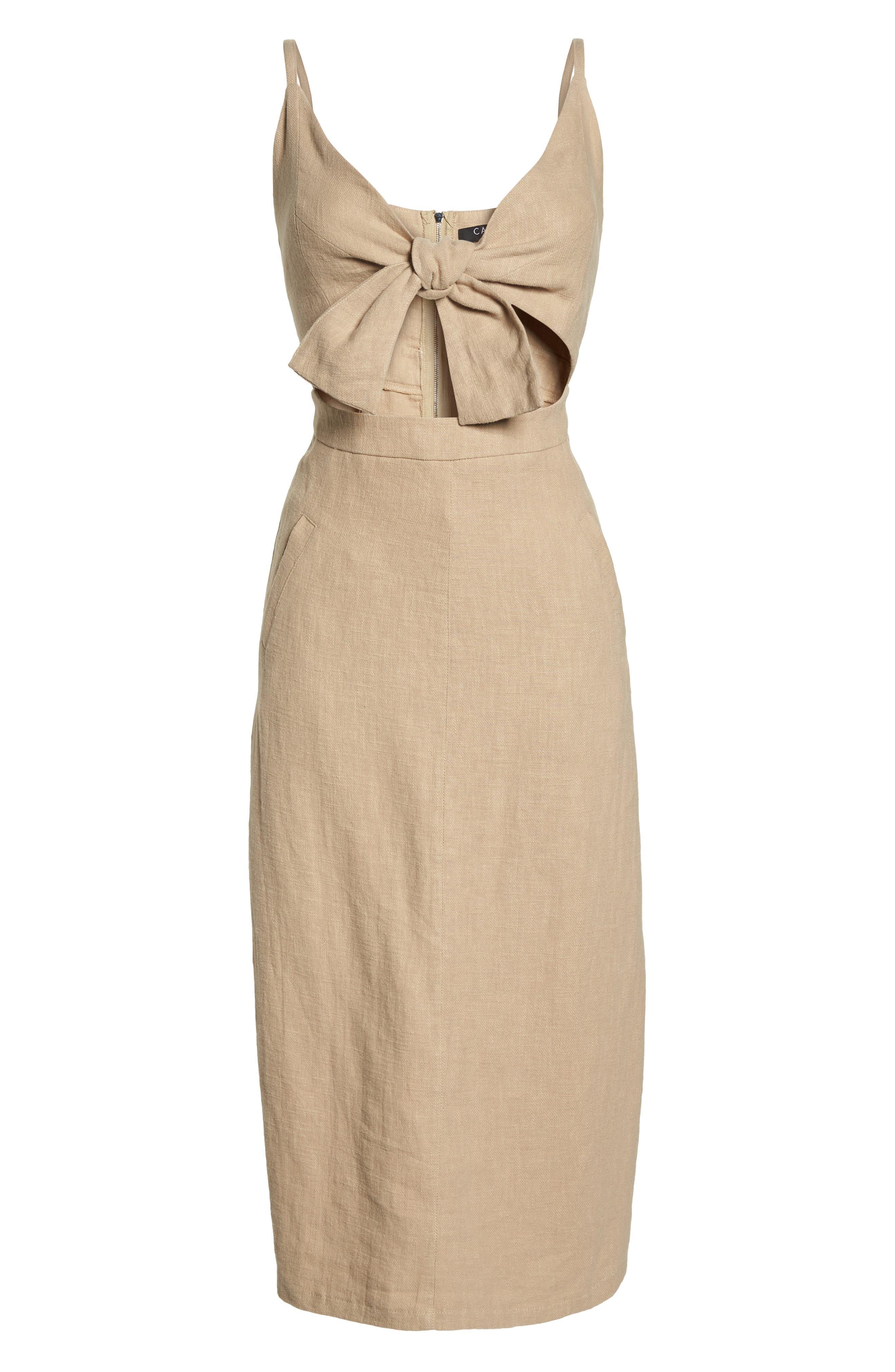 CAARA,                             Tie Front Linen Blend Sundress,                             Alternate thumbnail 7, color,                             250