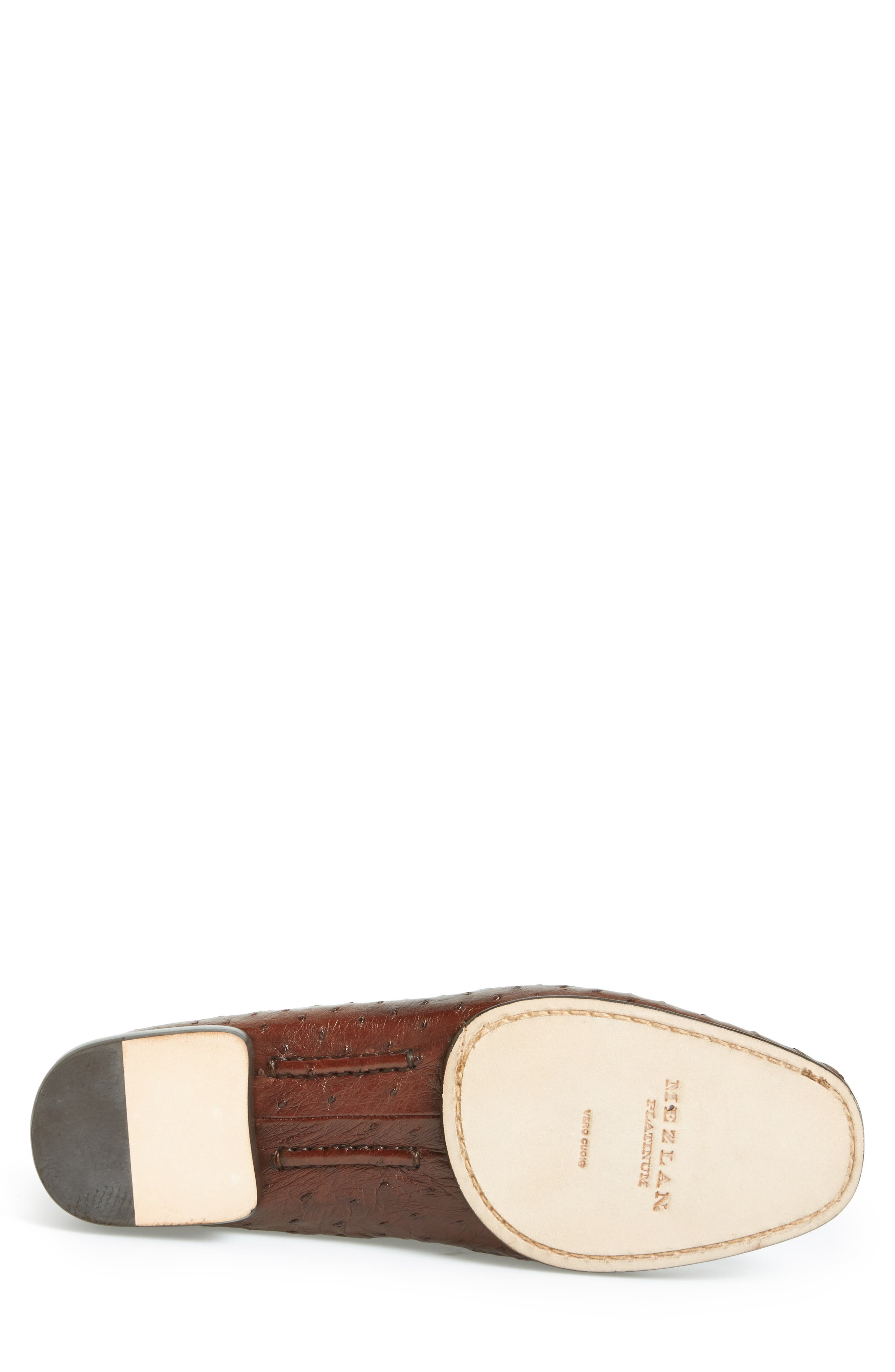 'Rollini' Ostrich Leather Loafer,                             Alternate thumbnail 4, color,                             TOBACCO