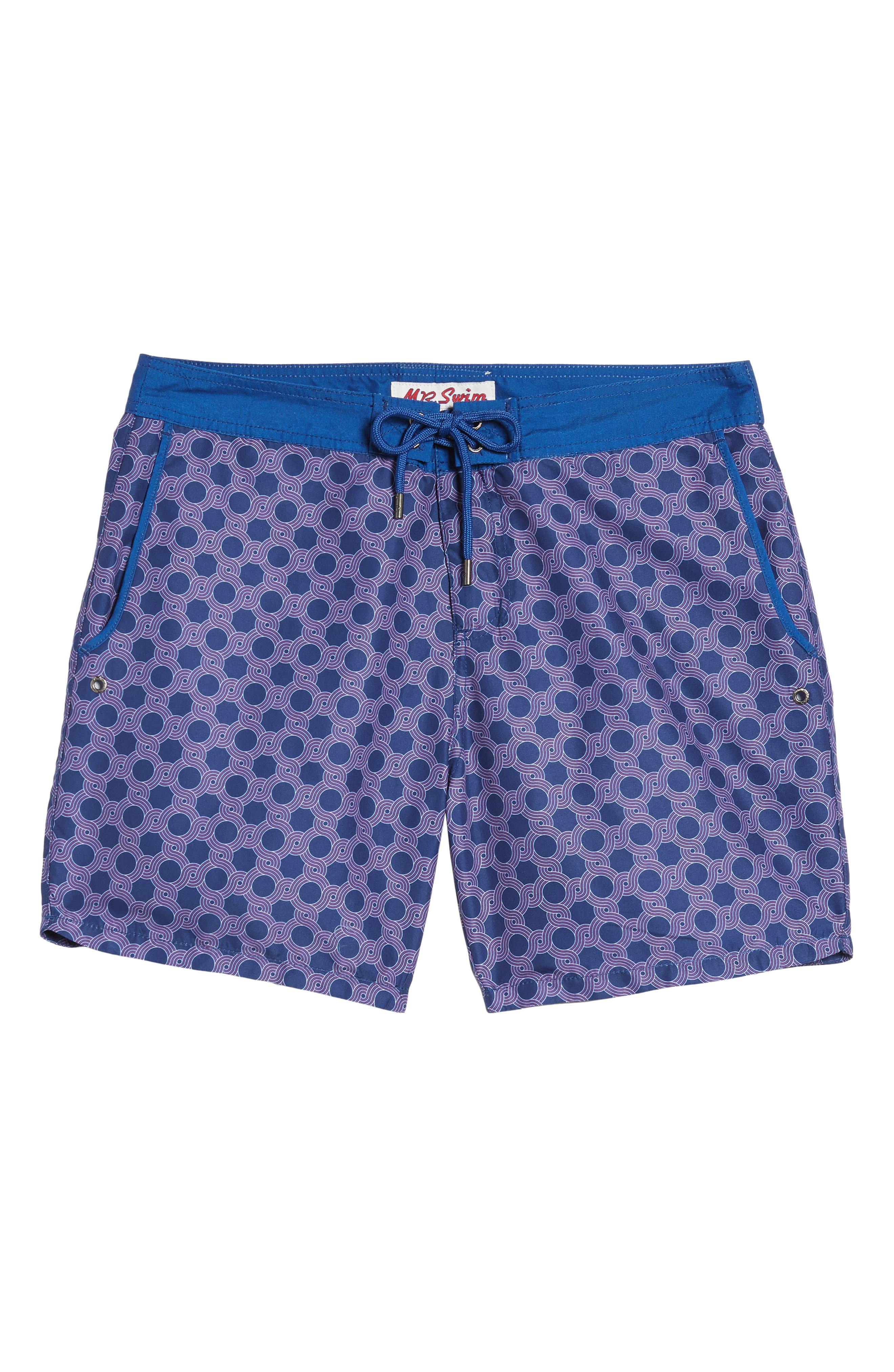 Mr. Swim Figure Eight Print Swim Trunks,                             Alternate thumbnail 6, color,                             NAVY
