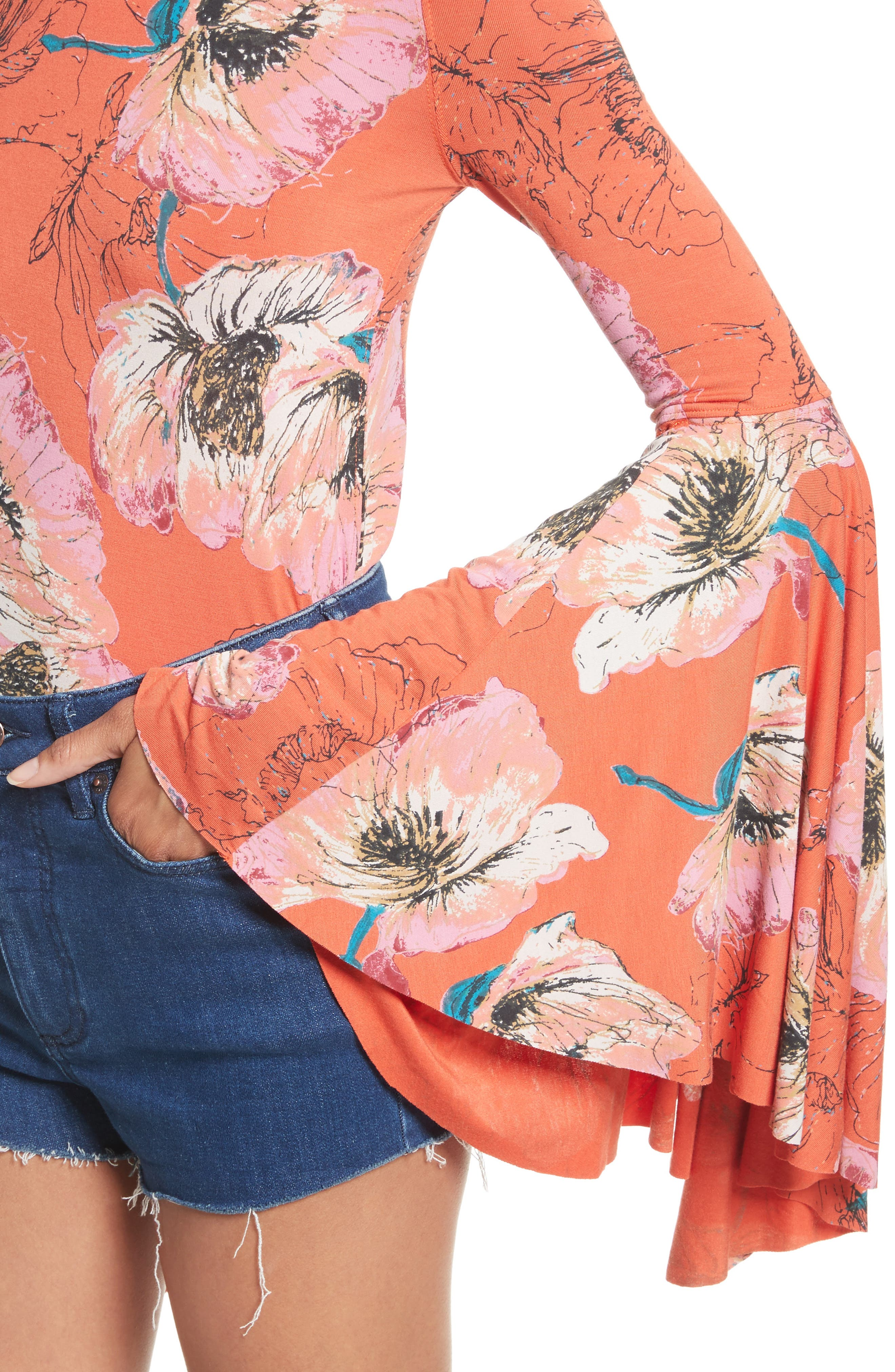 Birds of Paradise Print Off the Shoulder Top,                             Alternate thumbnail 16, color,