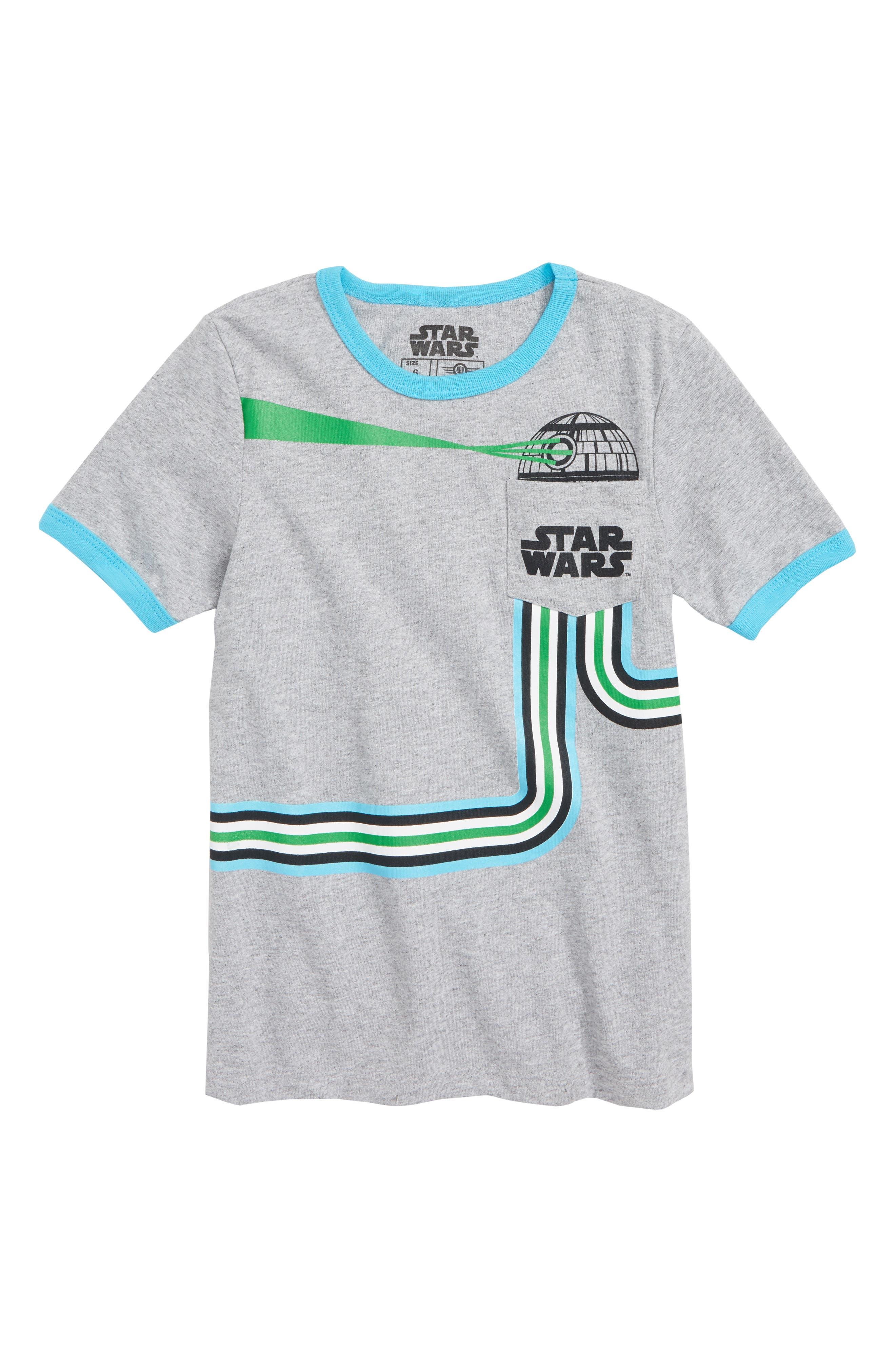 Star Wars Death Star Pocket T-Shirt,                             Main thumbnail 1, color,                             HEATHER GREY/ LIGHT BLUE
