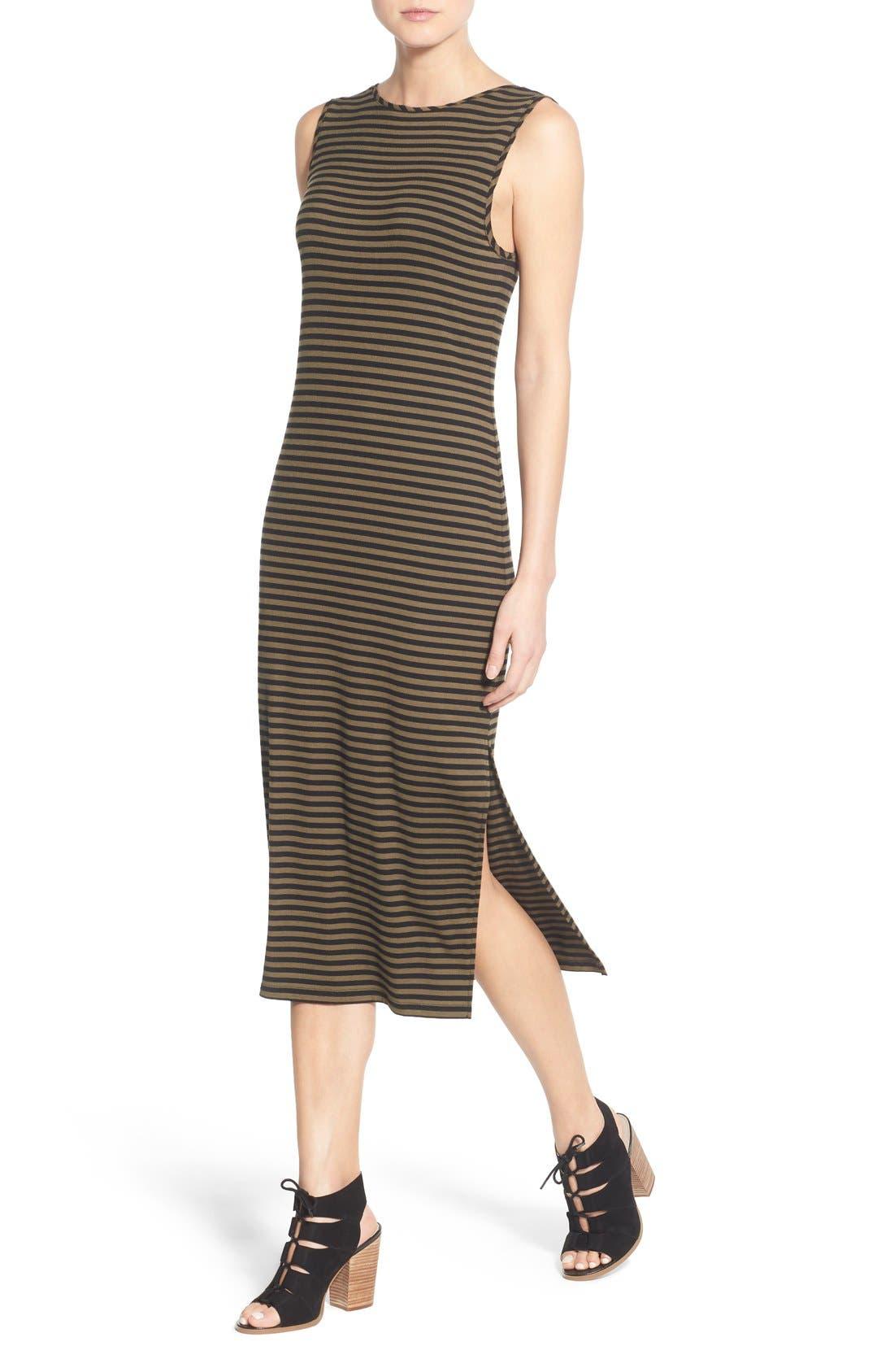 STEM,                             Stripe Scoop Back Midi Dress,                             Alternate thumbnail 2, color,                             300