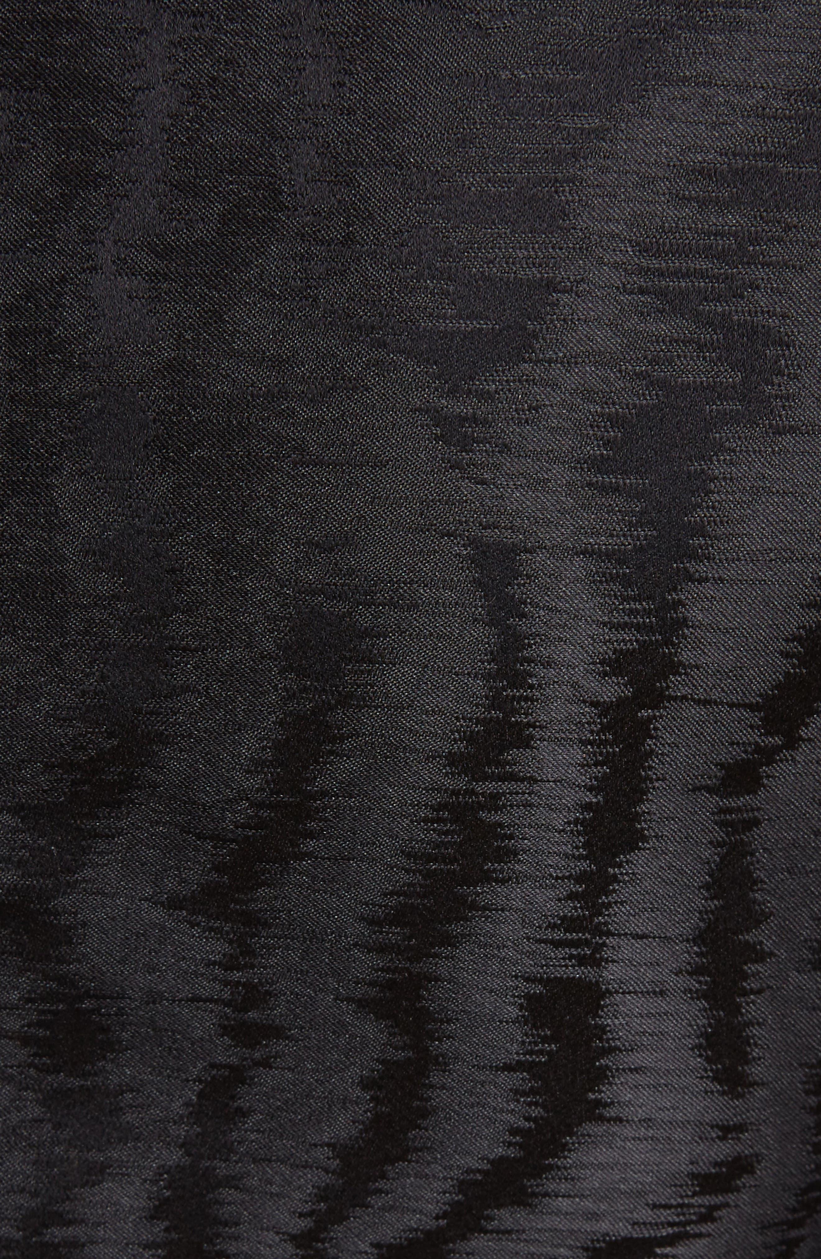 Moiré Lightning Neckline Dress,                             Alternate thumbnail 5, color,                             001