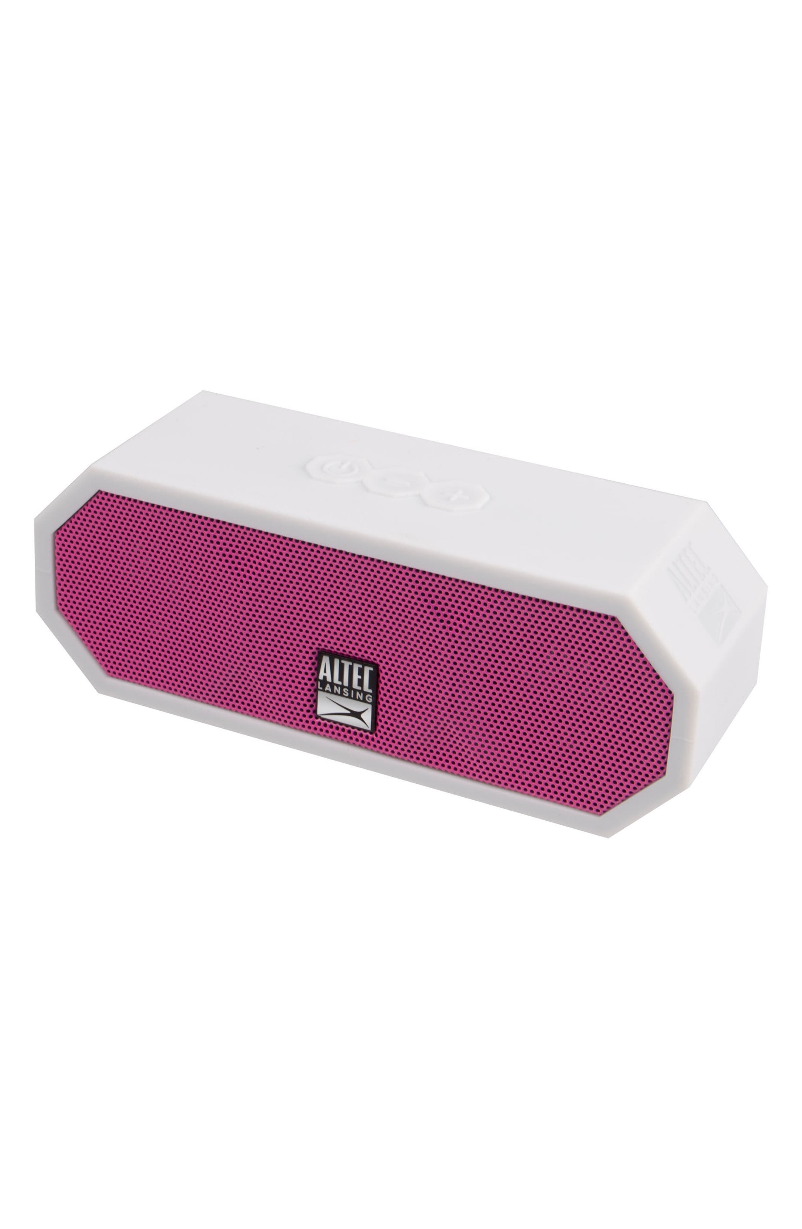 H2O 3 Waterproof Speaker,                             Alternate thumbnail 3, color,                             WHITE/ HOT PINK