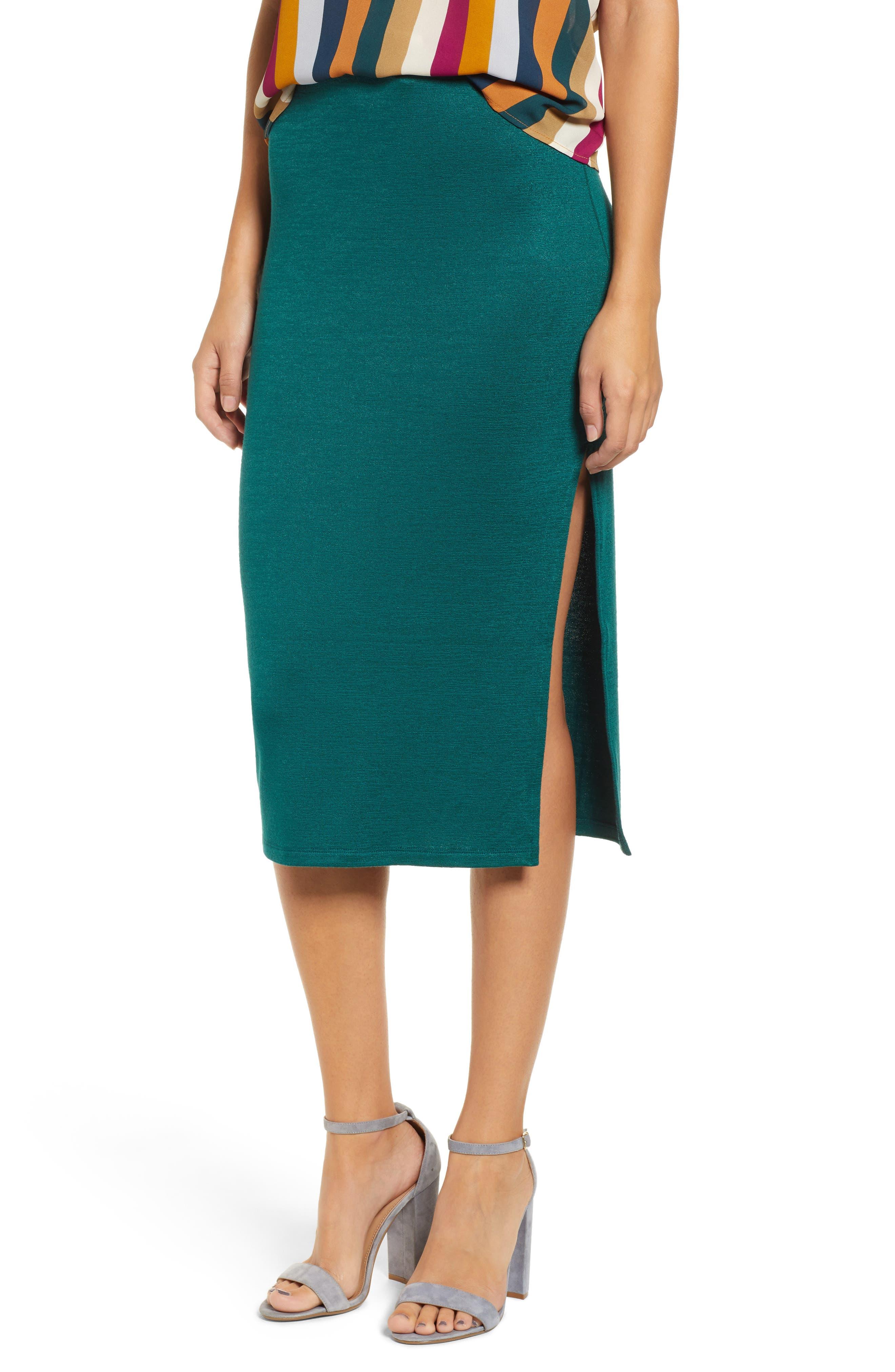 Leith High Slit Marled Midi Skirt, Green