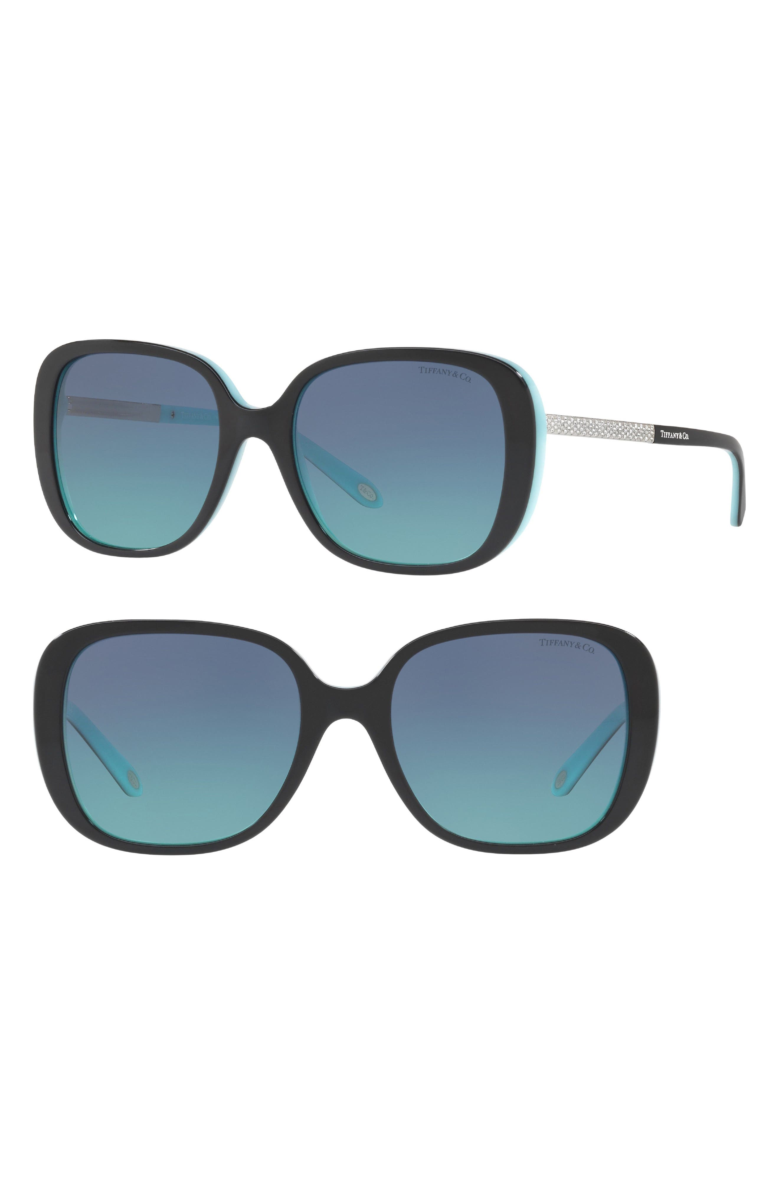 54mm Gradient Sunglasses,                             Alternate thumbnail 2, color,                             BLACK/ BLUE