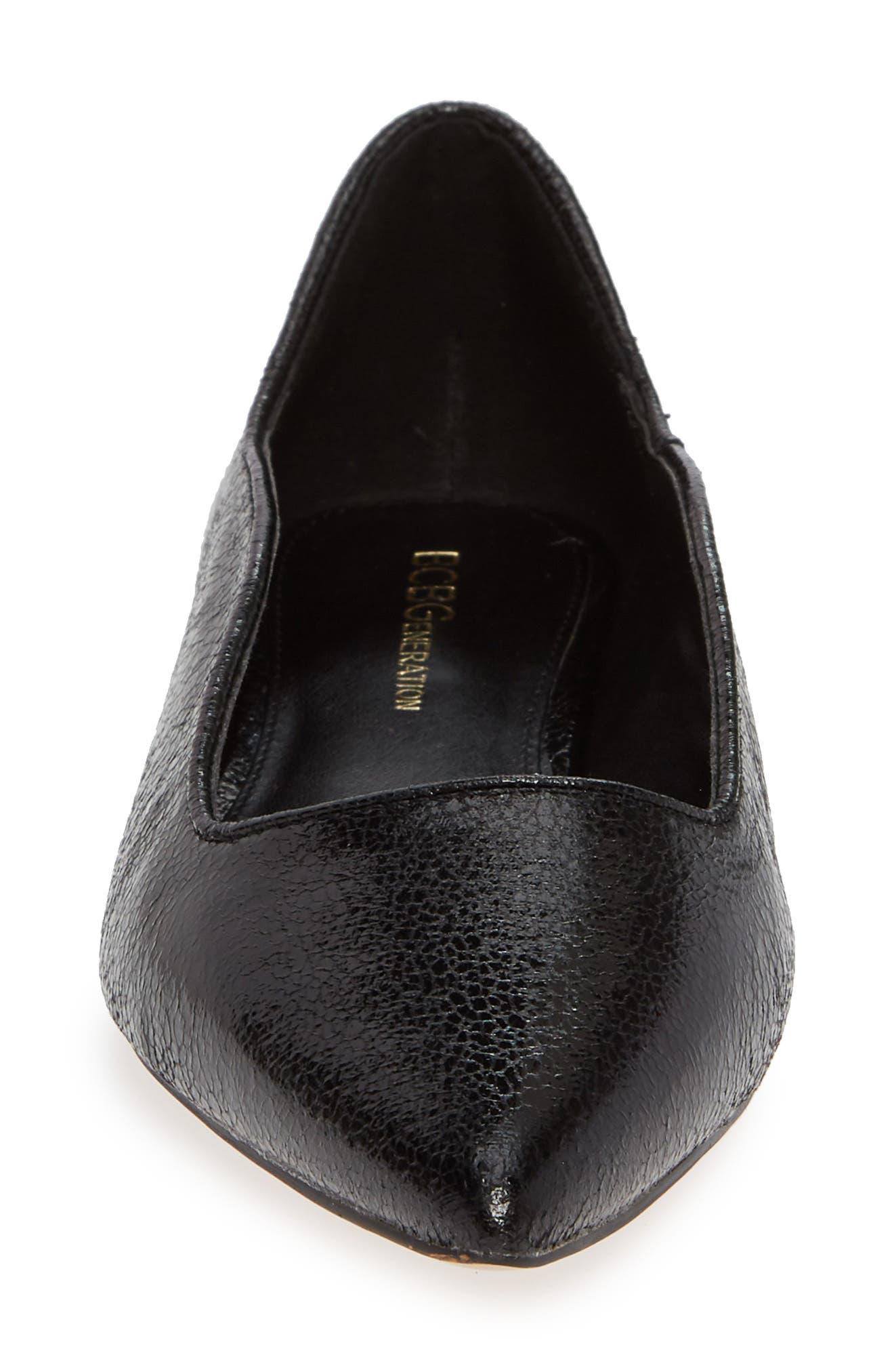Nikita Pointy Toe Flat,                             Alternate thumbnail 4, color,                             BLACK