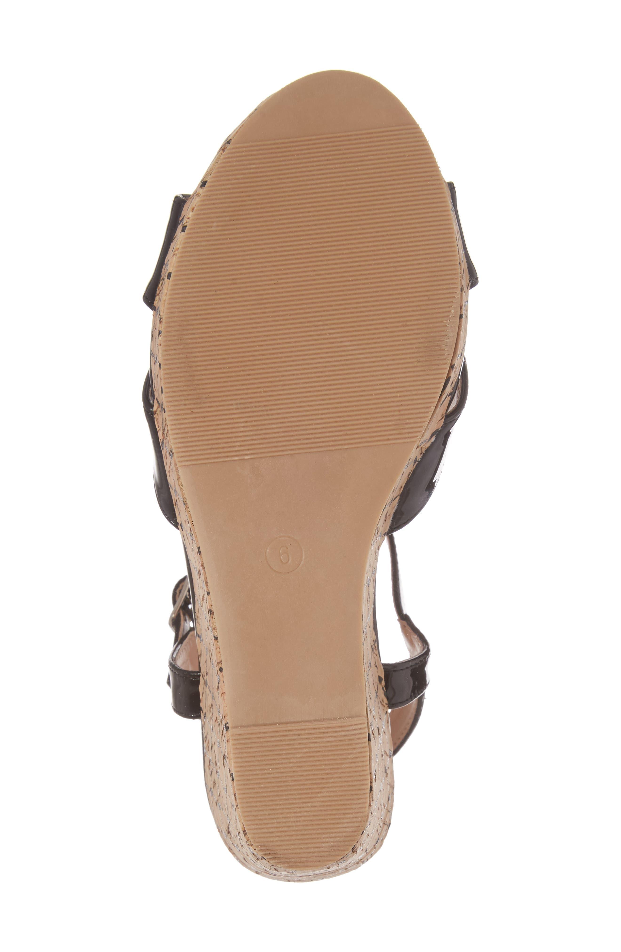 Teluride Platform Wedge Sandal,                             Alternate thumbnail 6, color,                             BLACK SYNTHETIC PATENT