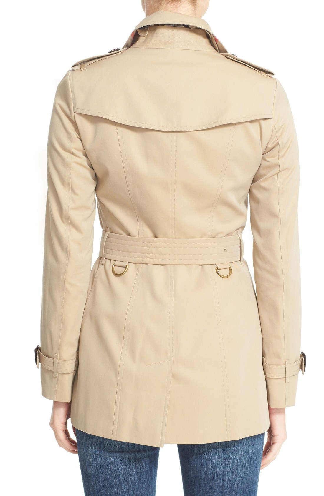 BURBERRY,                             Sandringham Short Slim Trench Coat,                             Alternate thumbnail 3, color,                             HONEY