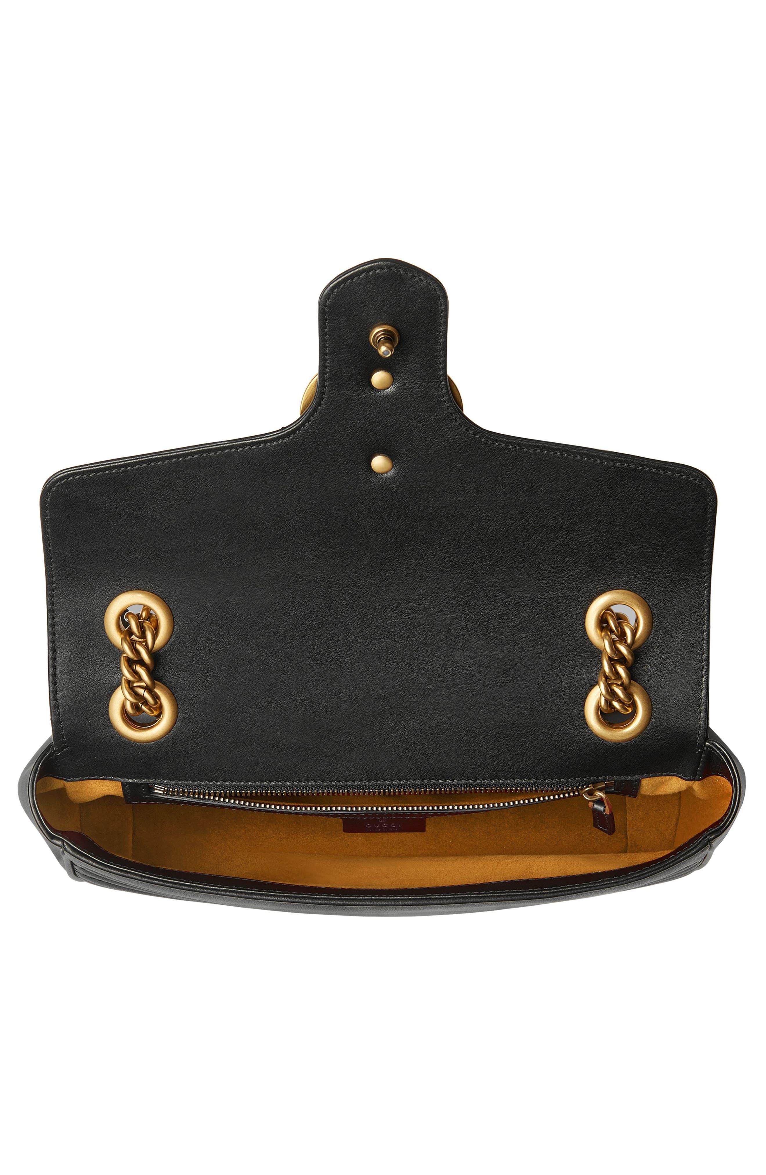 Small GG Marmont 2.0 Matelassé Leather Shoulder Bag,                             Alternate thumbnail 3, color,                             NERO/ NERO