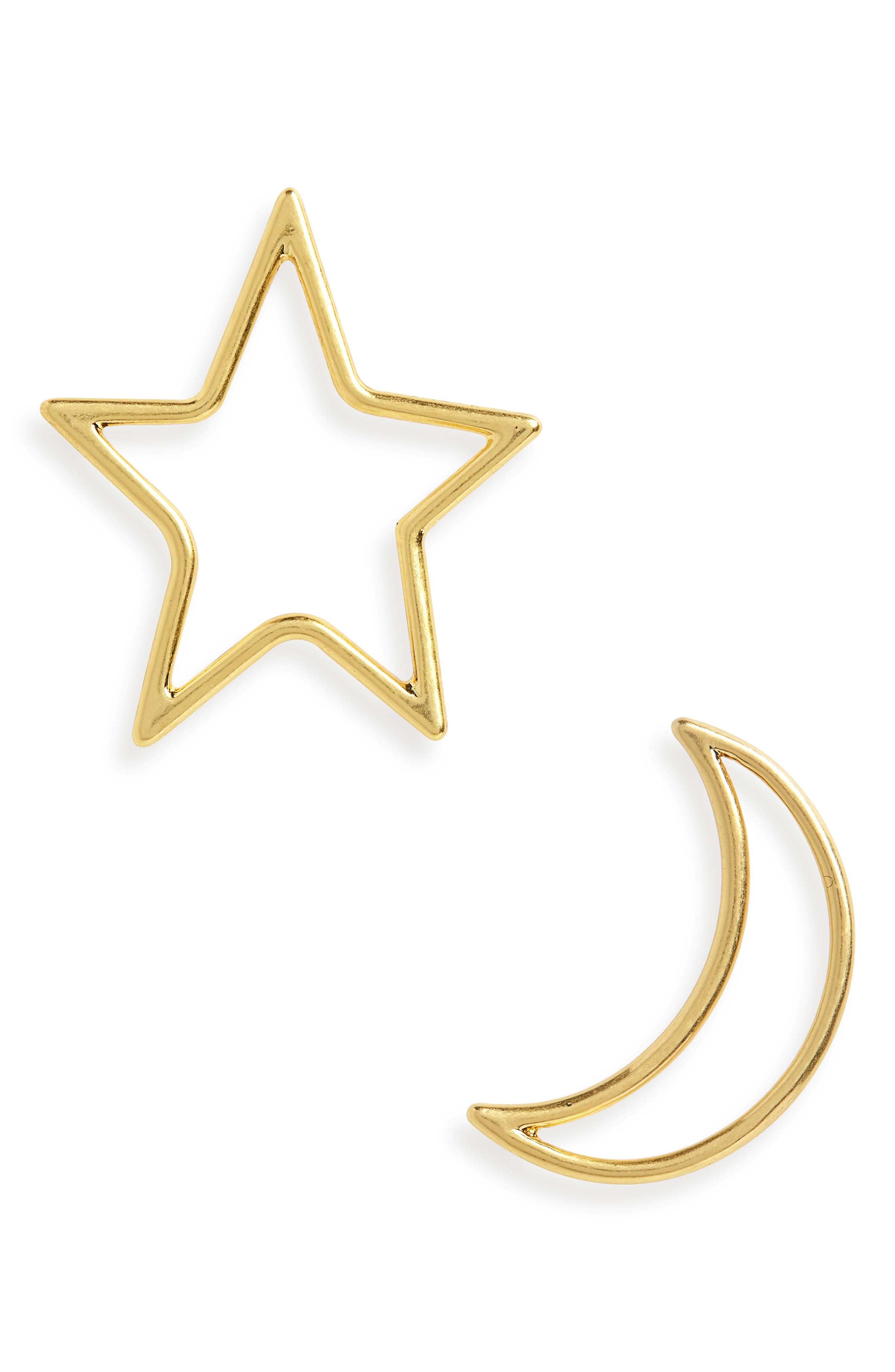 Star & Moon Statement Earrings,                         Main,                         color, VINTAGE GOLD